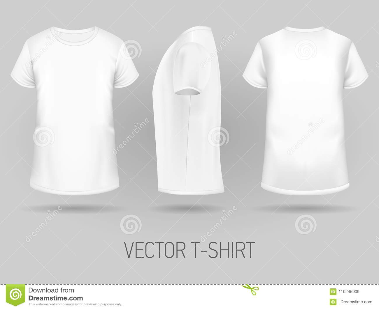 White T Shirt Template In Three Dimentions Stock Vector