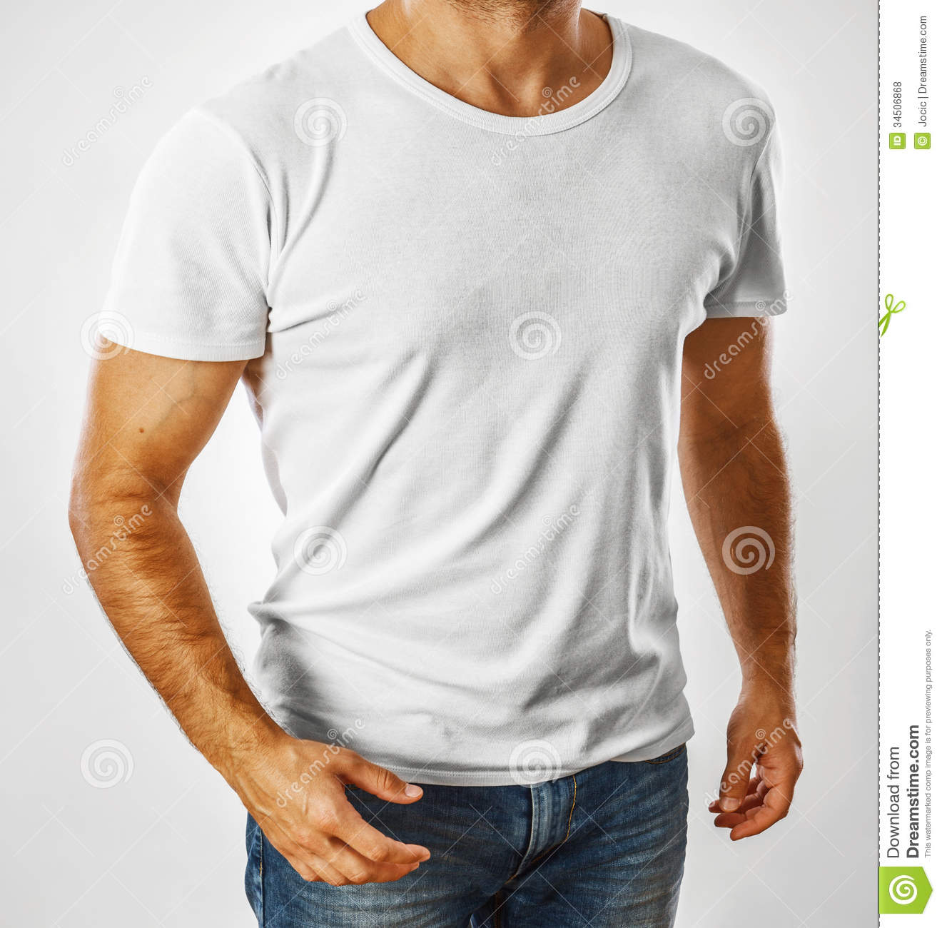 white t shirt on a young man template royalty free stock photos image 34506868. Black Bedroom Furniture Sets. Home Design Ideas