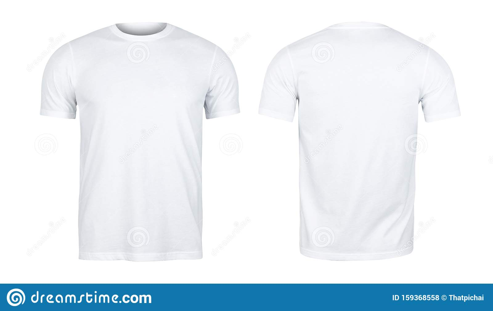White T Shirts Mockup Front And Back Used As Design Template