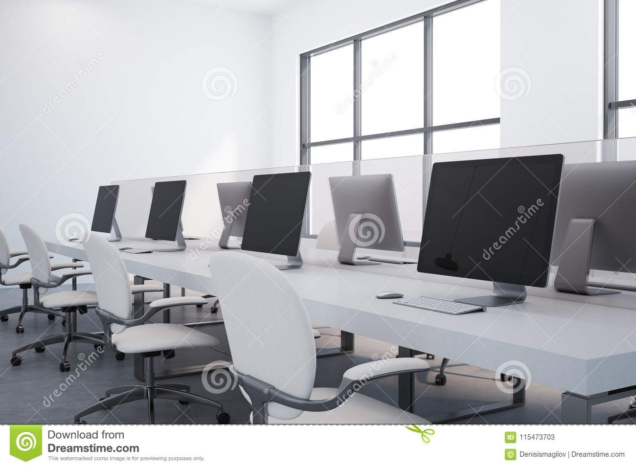 White Table Open Plan Office Close Up Stock Illustration