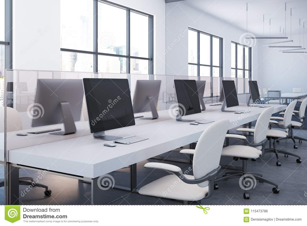 White Table Open Plan Office Close Up Side View Stock Illustration