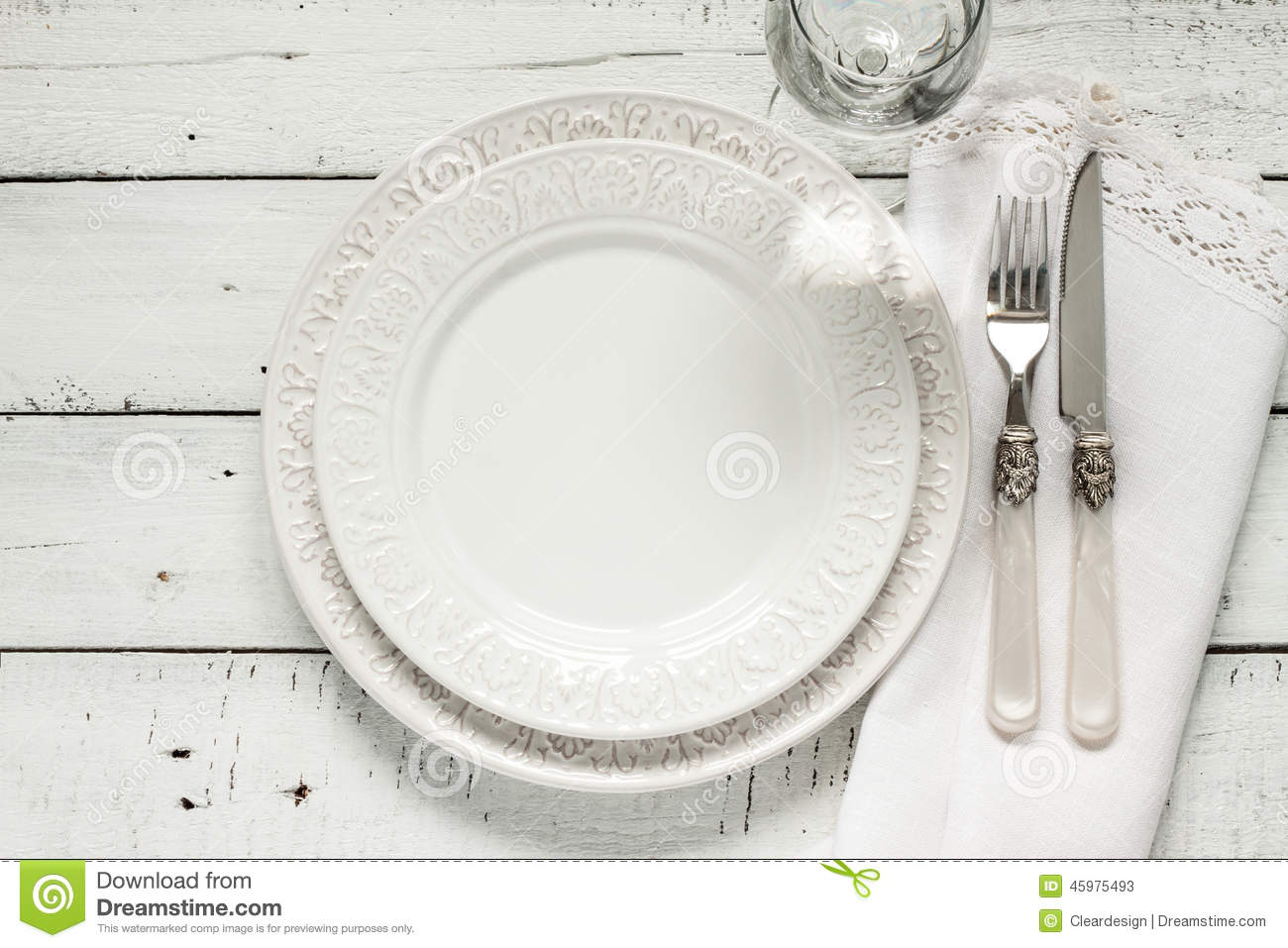 White Table Setting From Above With Elegant Empty Plate Stock Photo Image