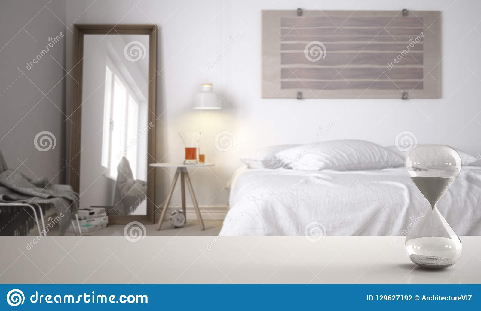 White Table Or Shelf With Crystal Hourglass Measuring The Passing Time Over Modern Bedroom With Double Bed Architecture Interior Stock Photo Image Of Measuring Copy 129627192