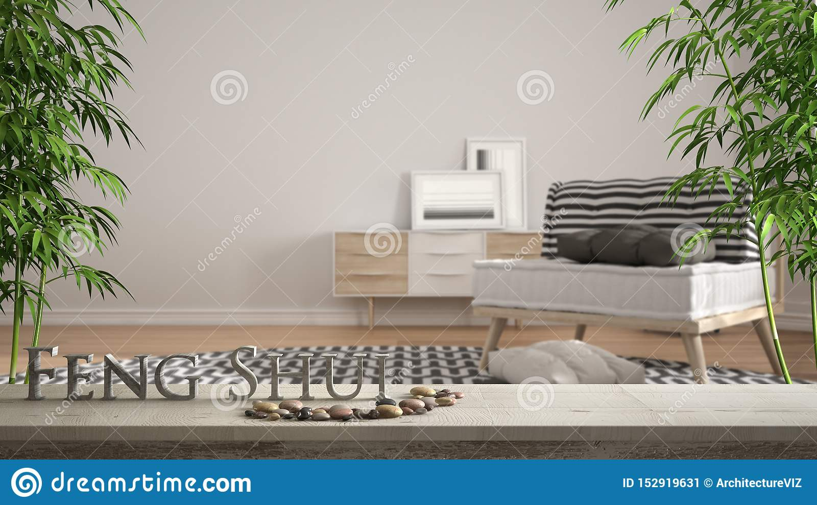 White Table Shelf With Pebble Balance And 3d Letters Making