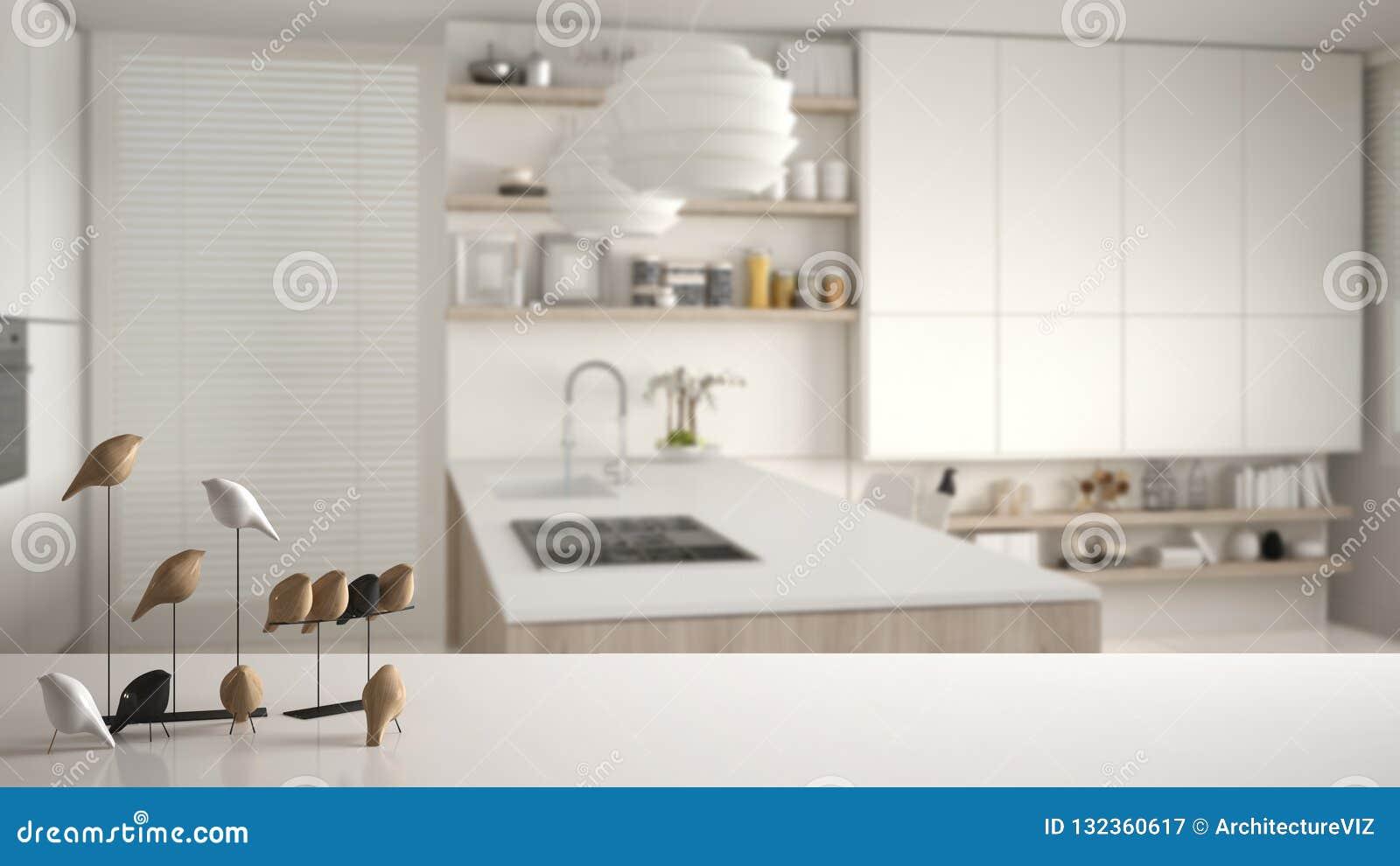 White Table Top Or Shelf With Minimalistic Bird Ornament, Birdie ...