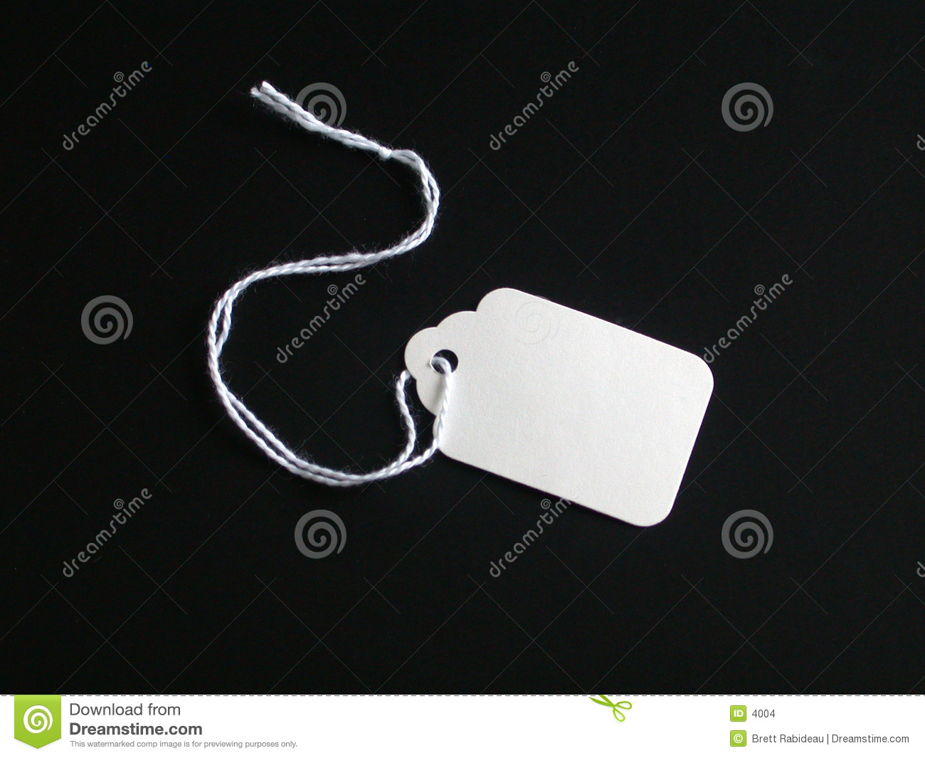 White tag on a black background