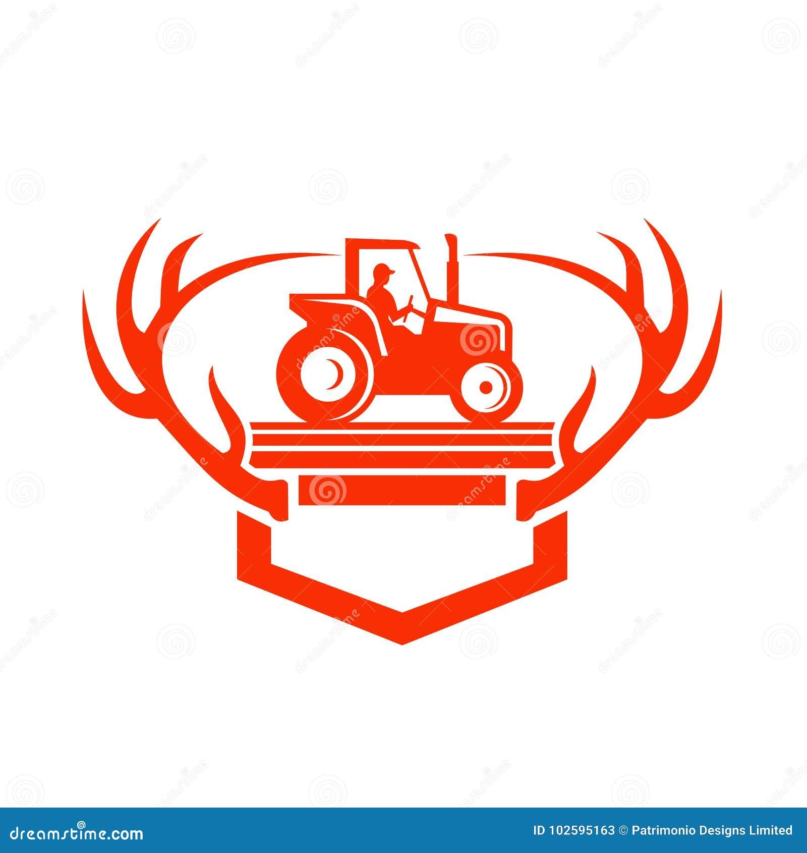 White Tail Deer Antler Tractor Retro Stock Vector - Illustration of ...