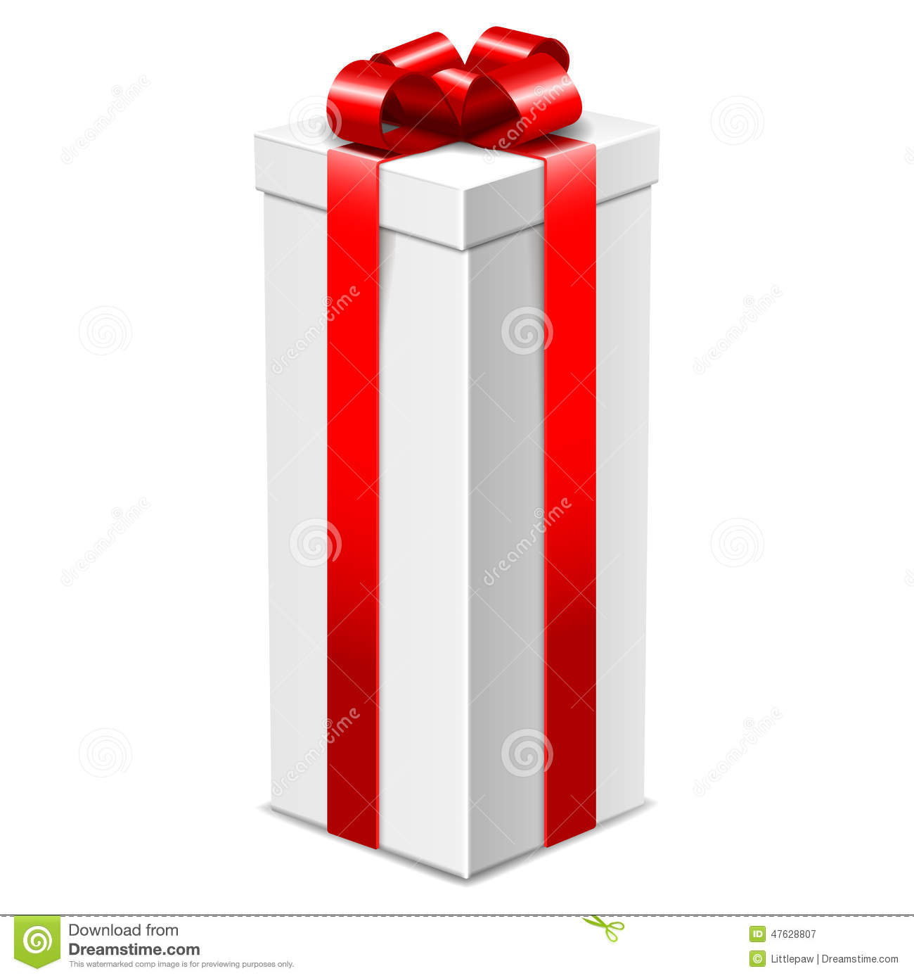 White Tall Gift Box With Red Bow Isolated On White Stock