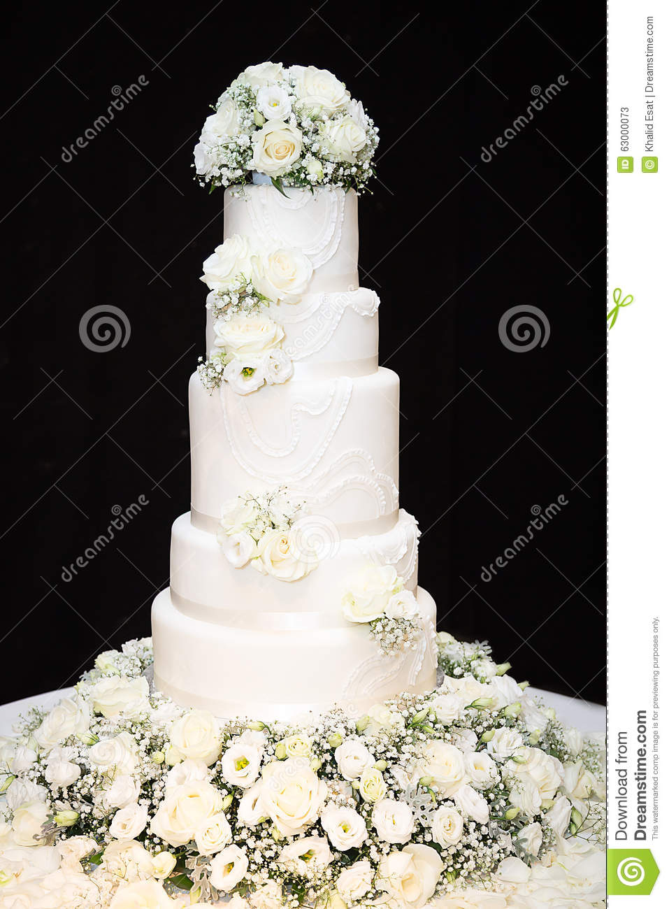 White Tall Wedding Cake With Flowers Stock Image - Image of ...