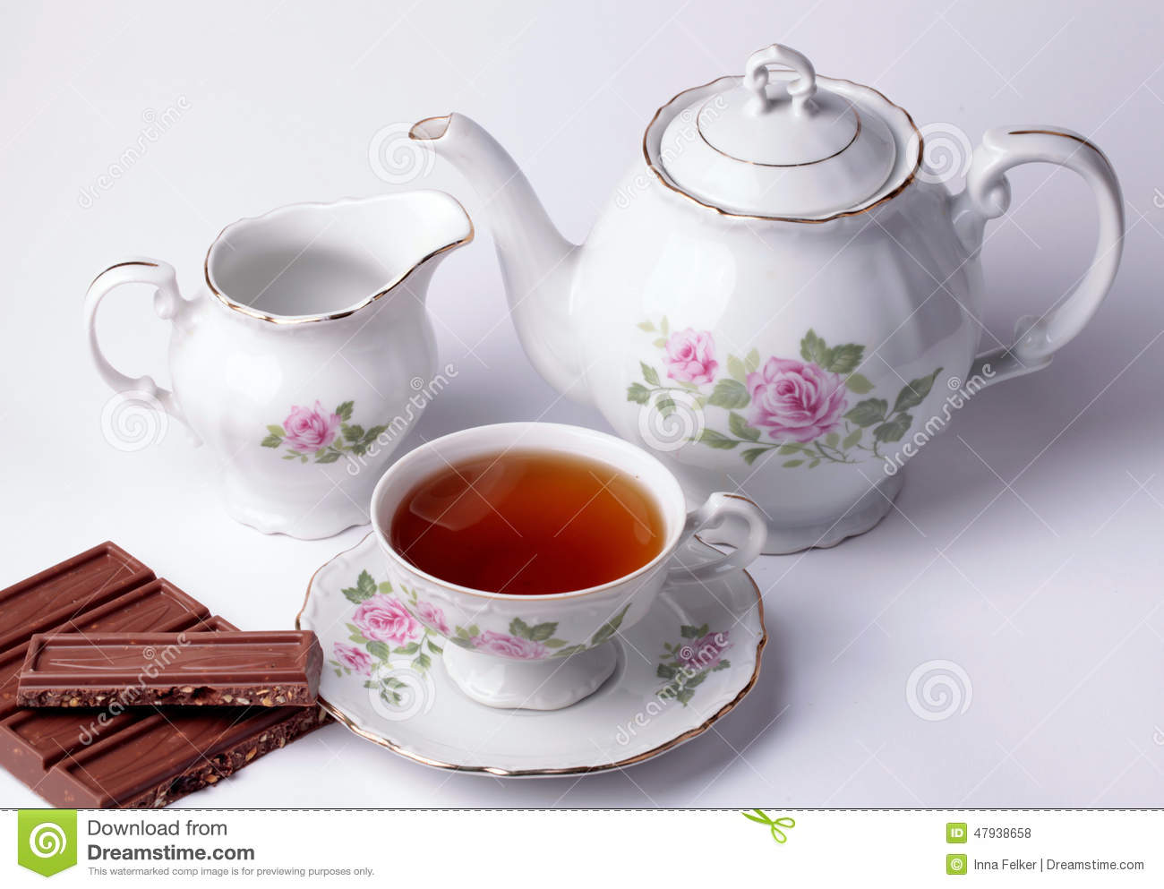 White Tea Set Floral Dishware With Chocolate Stock Photo