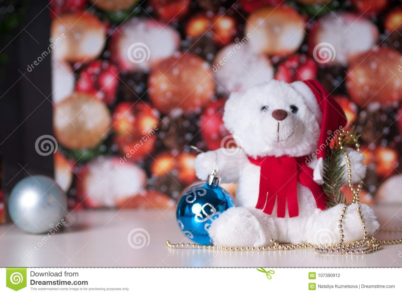 White teddy bear with presents