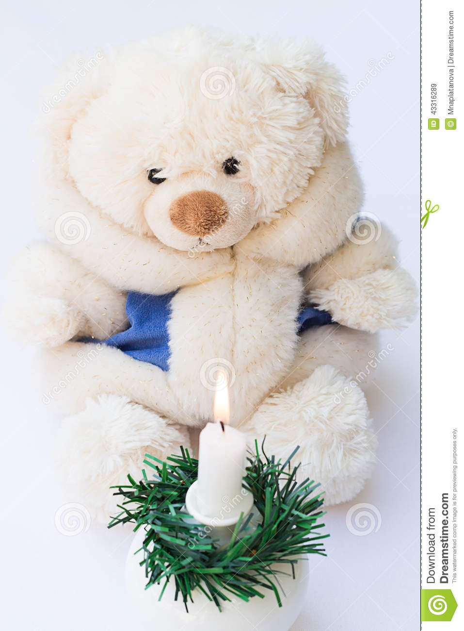white teddy bear in a winter coat and a burning candle. Black Bedroom Furniture Sets. Home Design Ideas