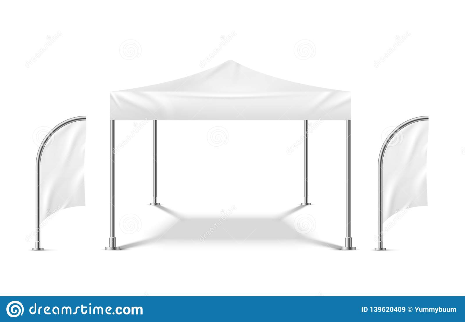White tent with flags. Promo marquee mockup beach event outdoor material pavilion mobile camping party tent template