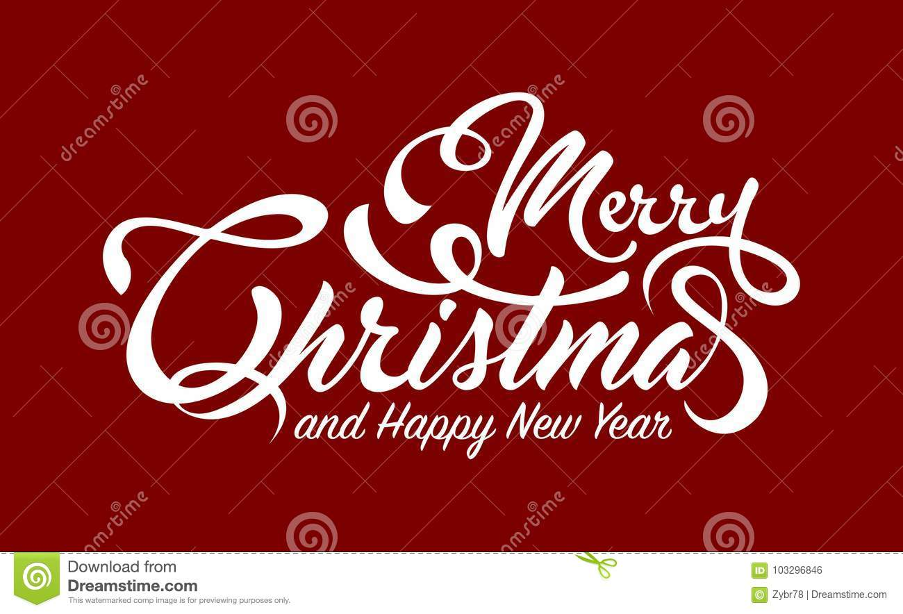White Text Merry Christmas And Happy New Year Stock Vector ...
