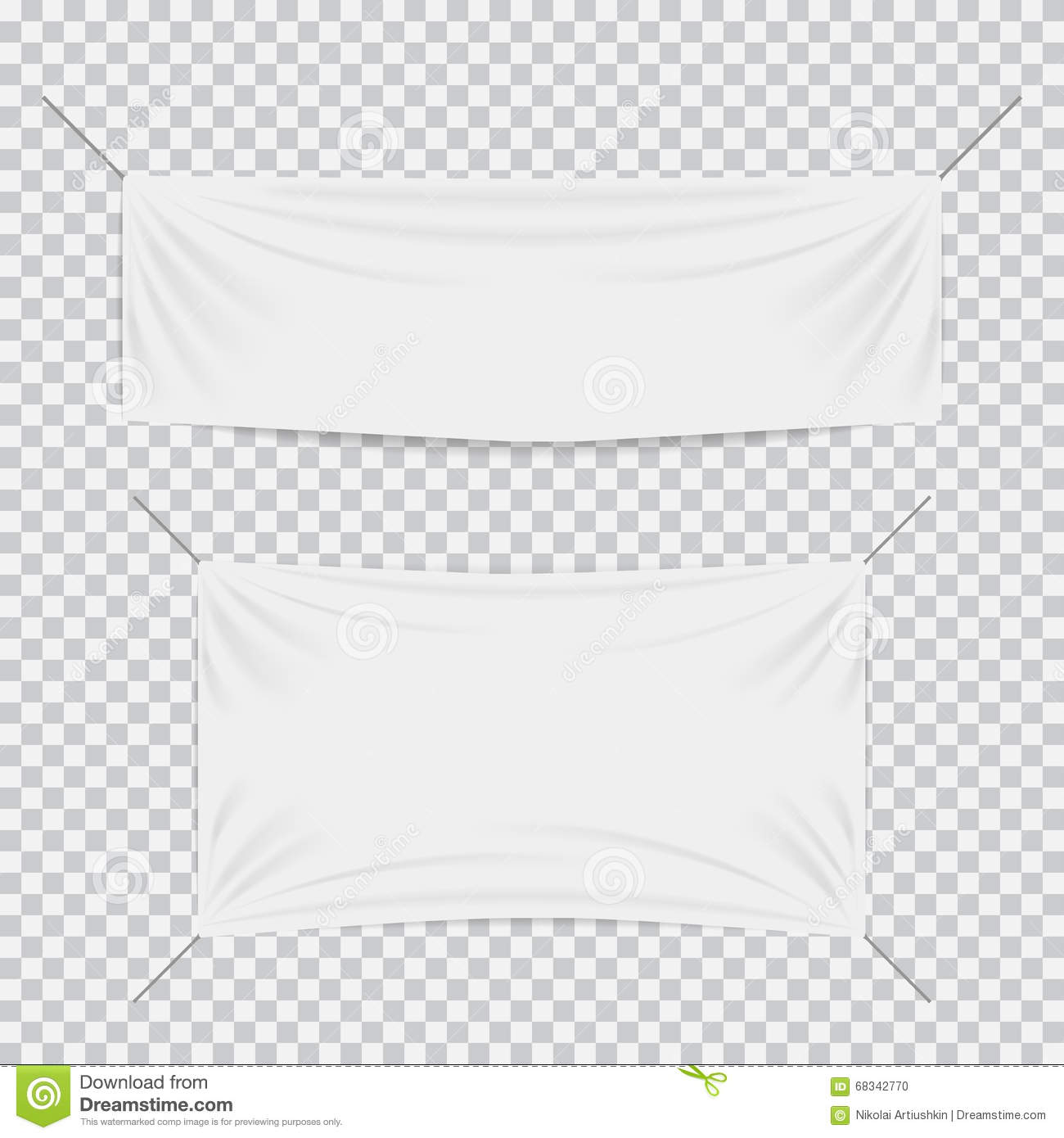 White Textile Banners With Folds Template Set Stock Vector