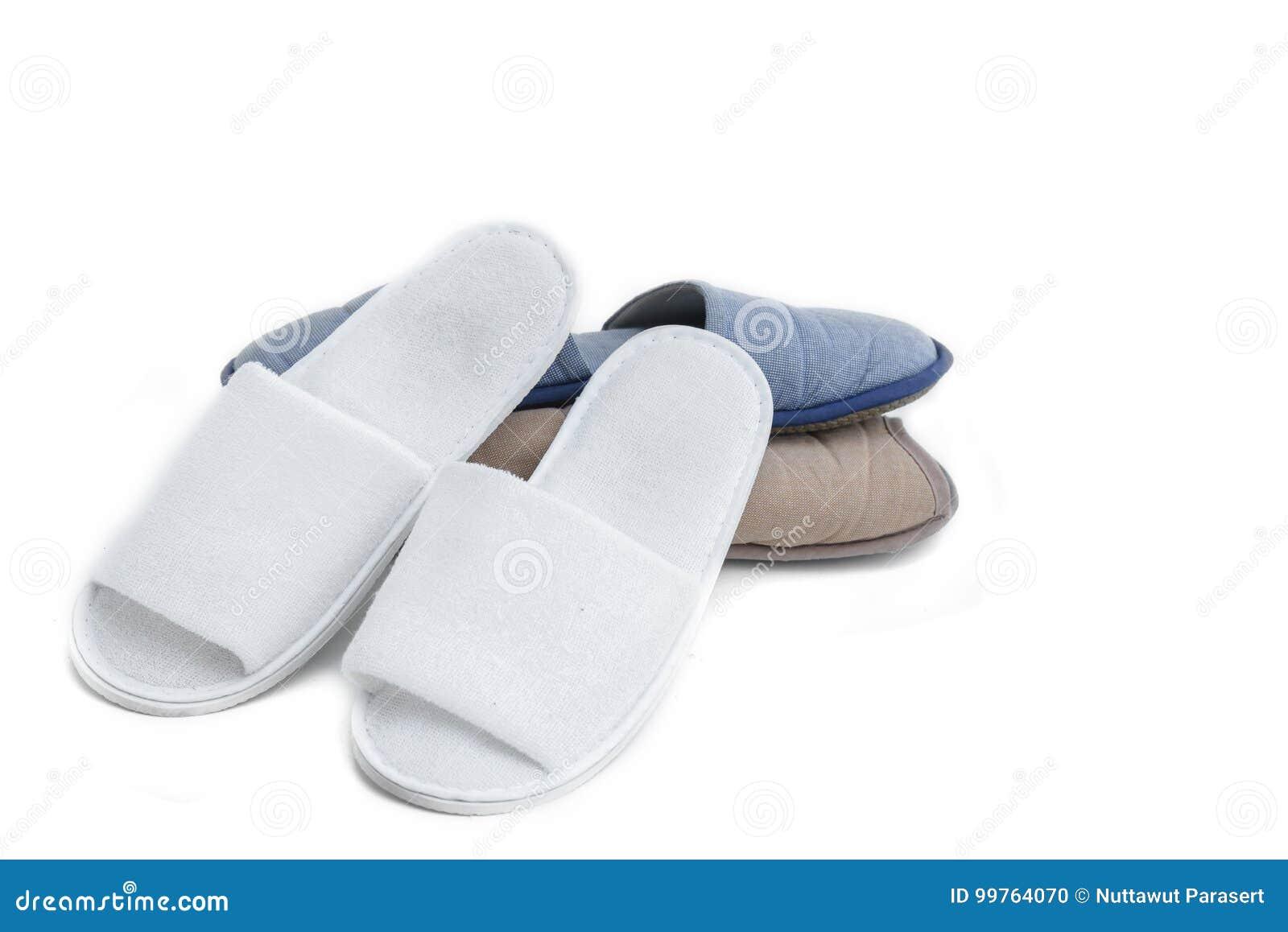 5893e7756ba White Textile Home Slippers Isolated On White Background Stock Photo ...