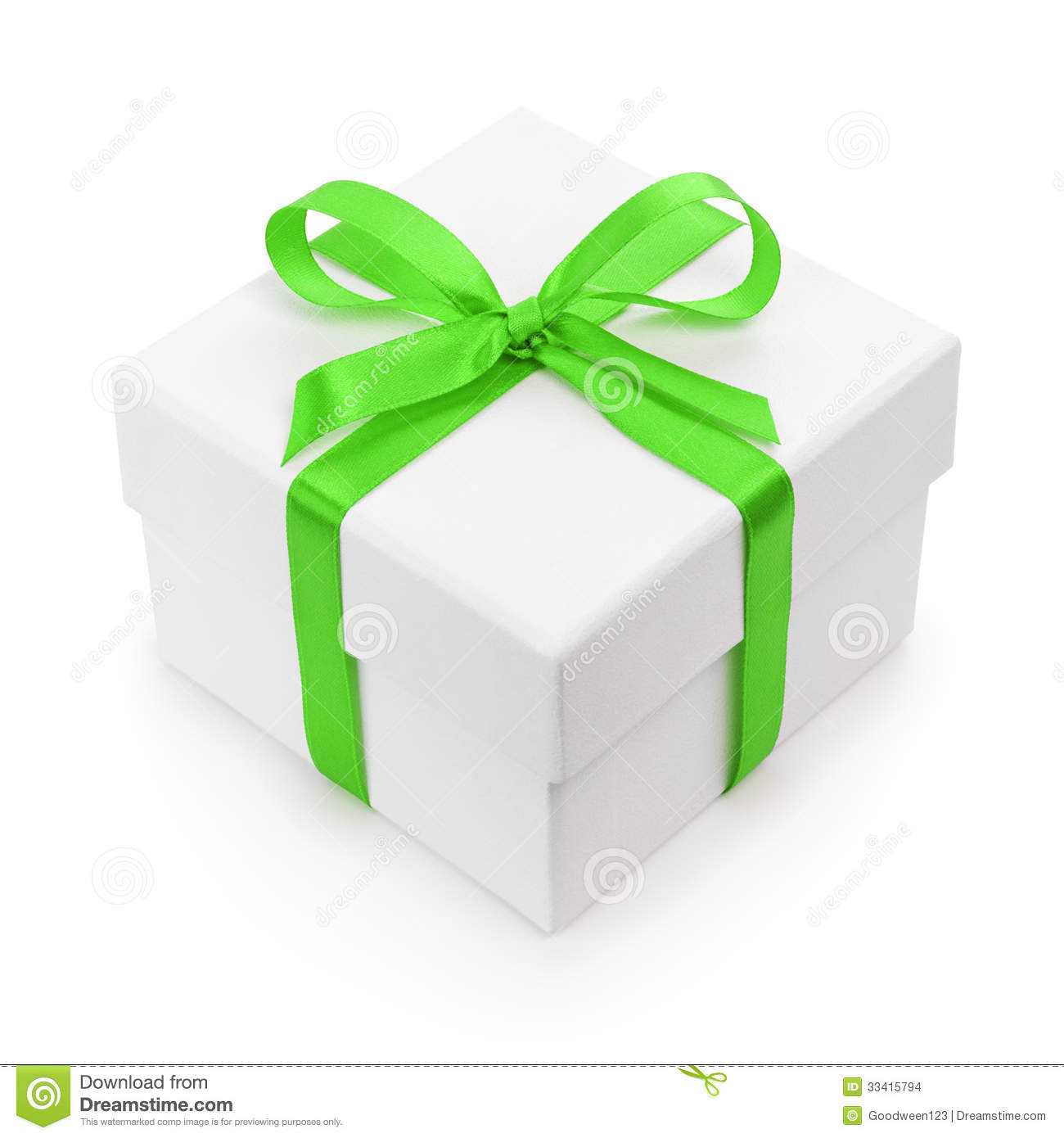 White textured gift box with green ribbon bow stock photo