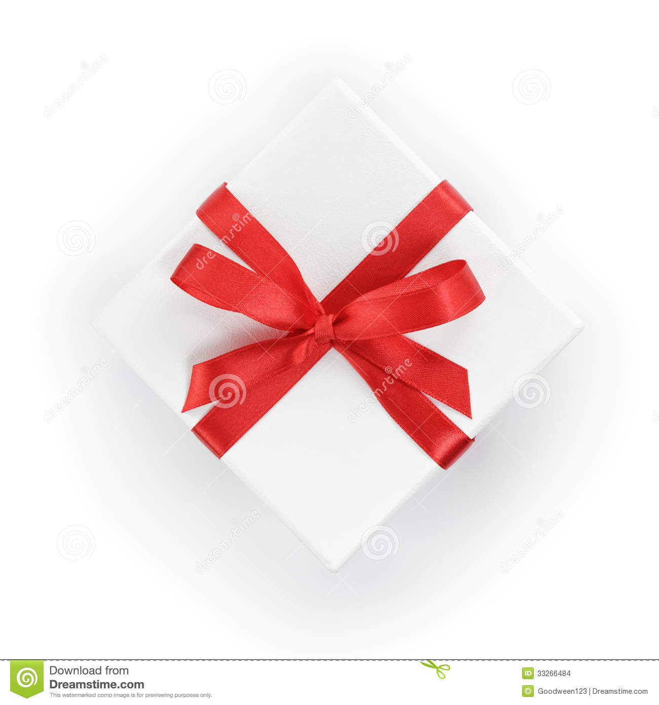 White textured gift box with red ribbon bow stock photo