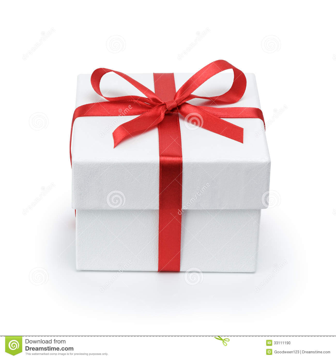 White Textured Gift Box With Ribbon Bow Stock Photo