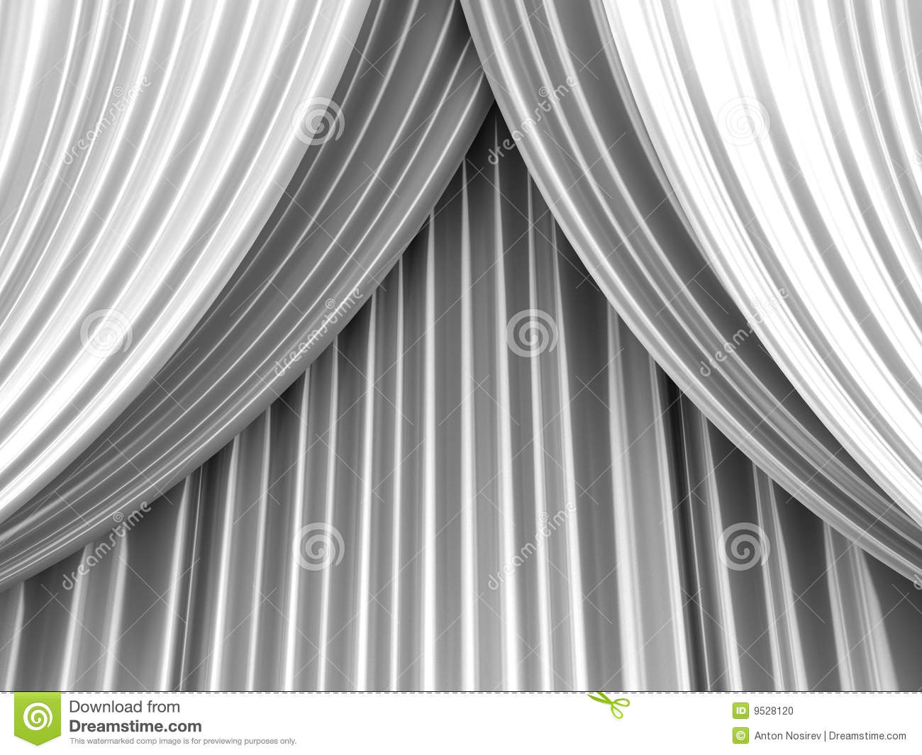 Black and white stage curtain - White Theater Curtain Stock Photo