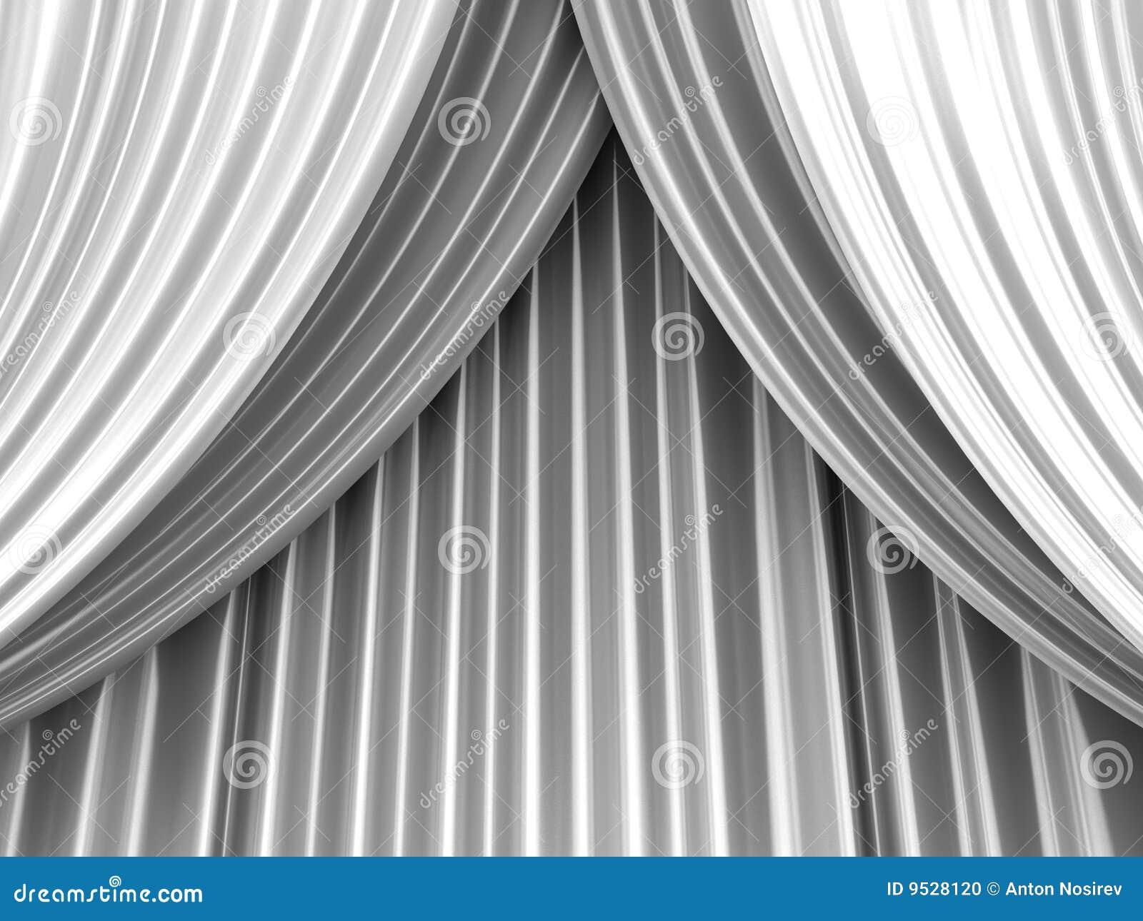 White Theater Curtain Stock Photo Image 9528120