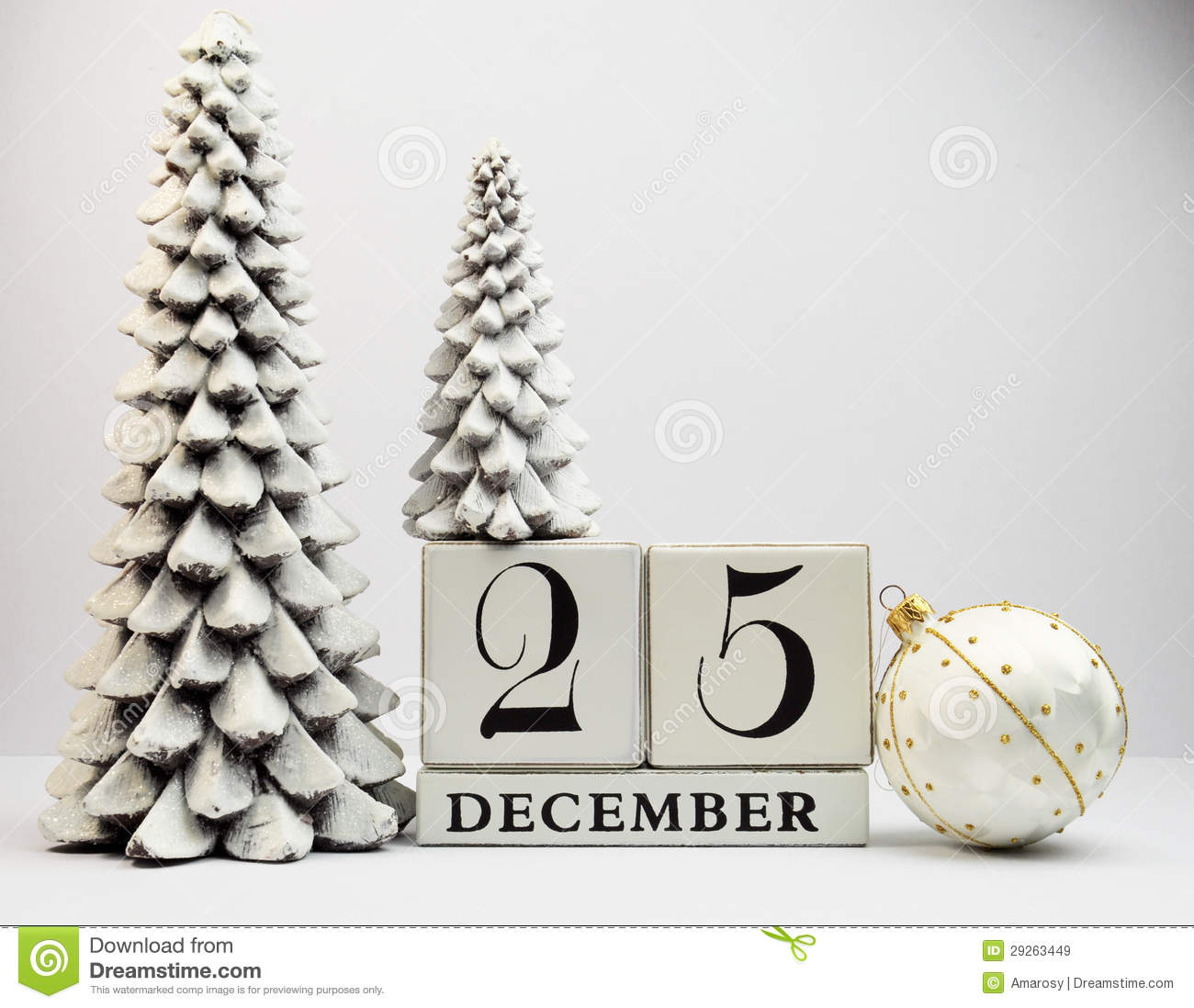 White Theme Save The Date Calendar For Christmas Day, December 25 ...