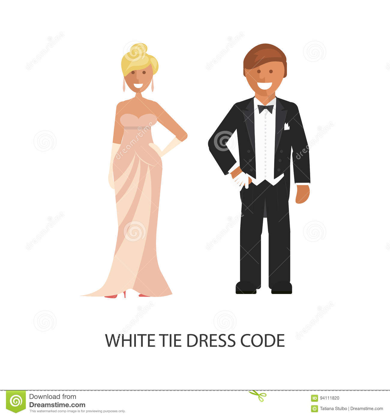 White tie dress code. stock vector. Image of business ...