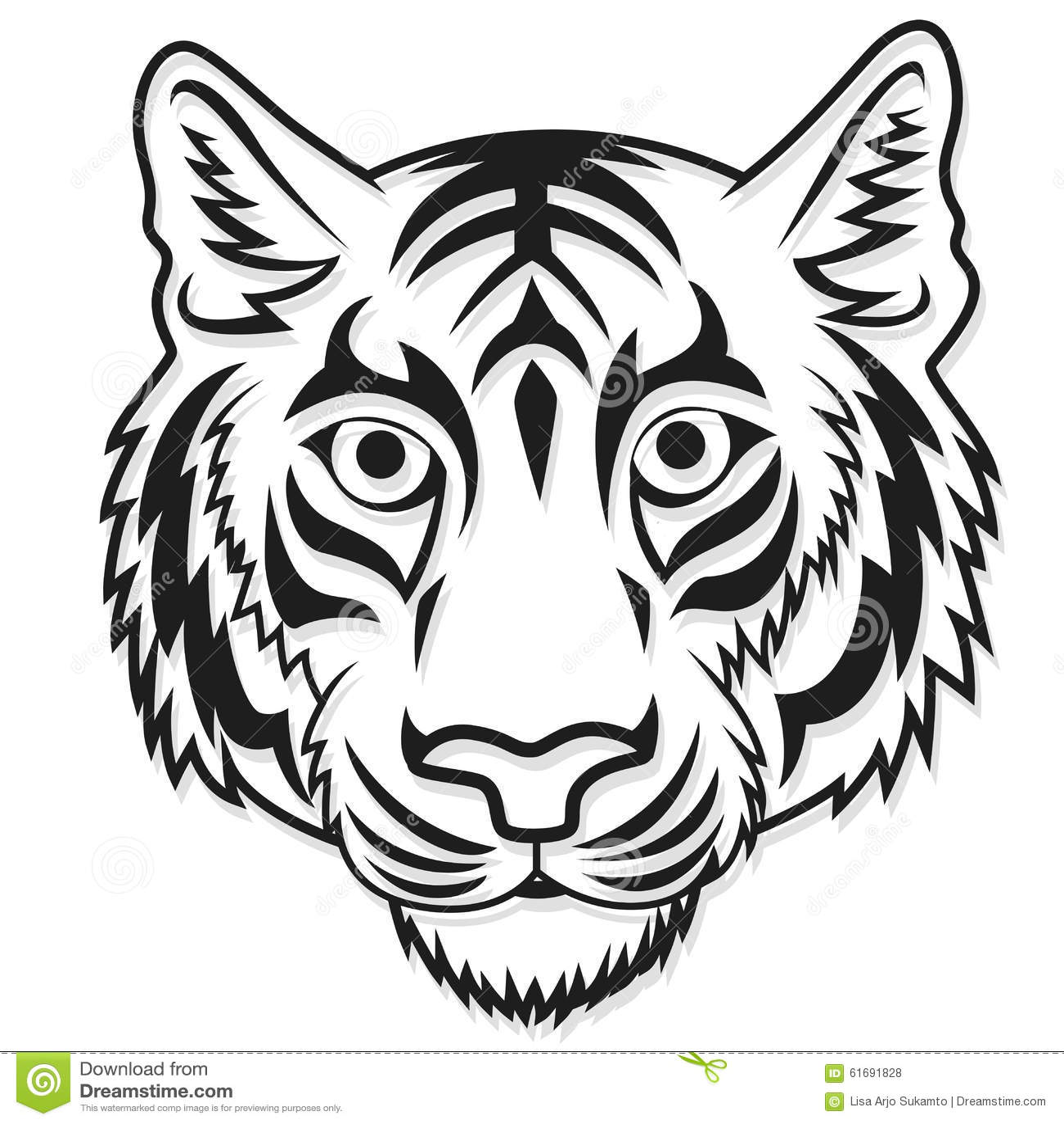 white tiger head mascot team sport cartoon stock vector image