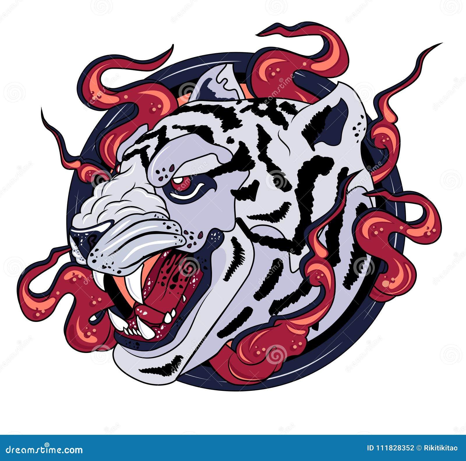 8760961d2 White tiger print logo stock vector. Illustration of face - 111828352