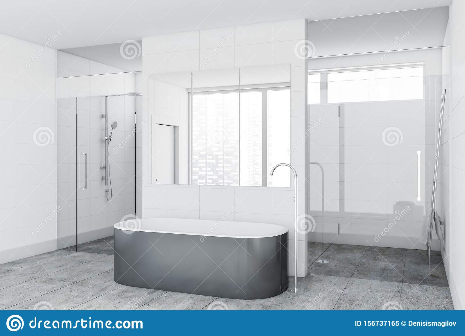 White Tile Bathroom Corner With Tub And Shower Stock