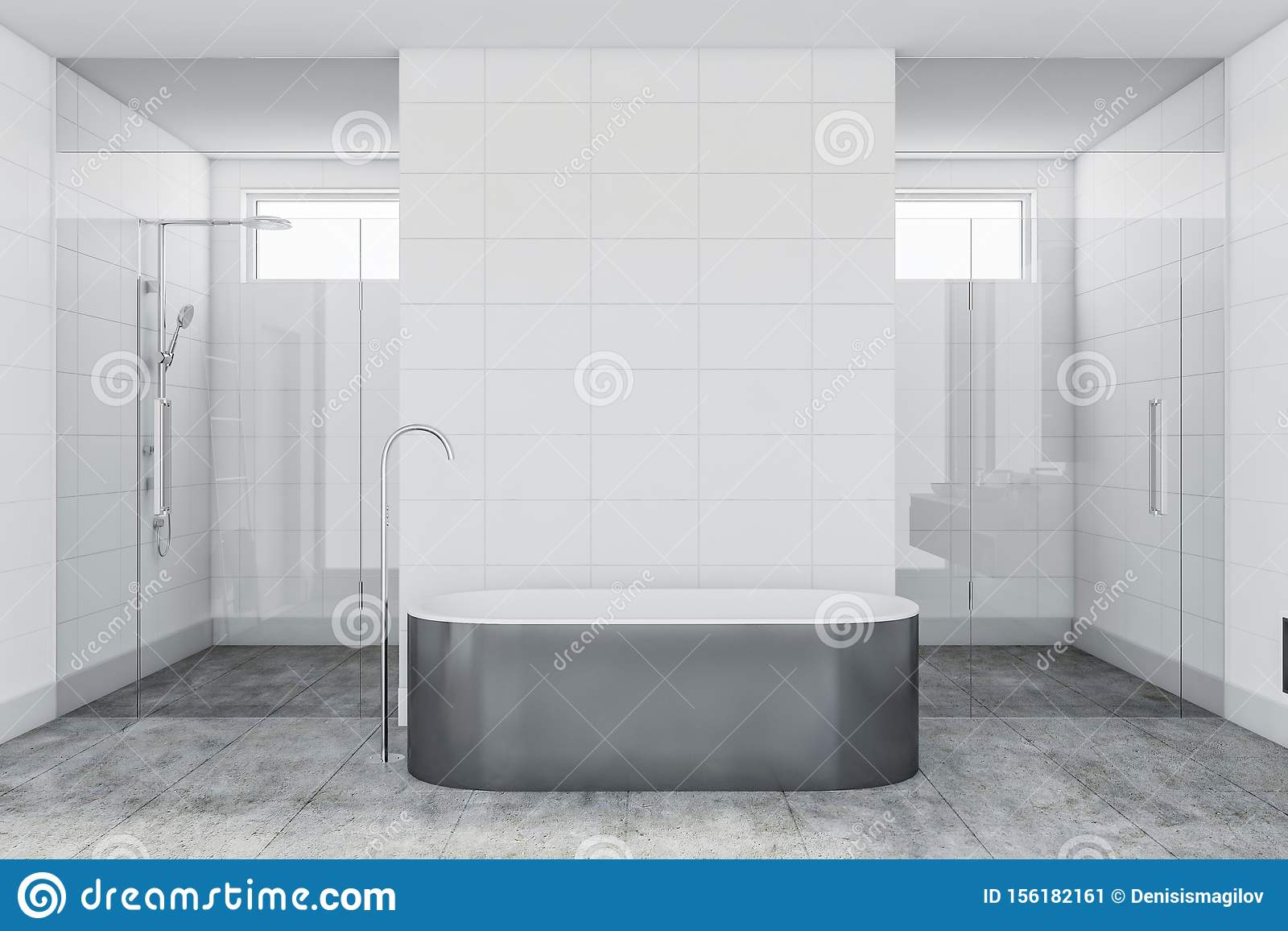 White Tile Bathroom Interior With Tub And Shower Stock