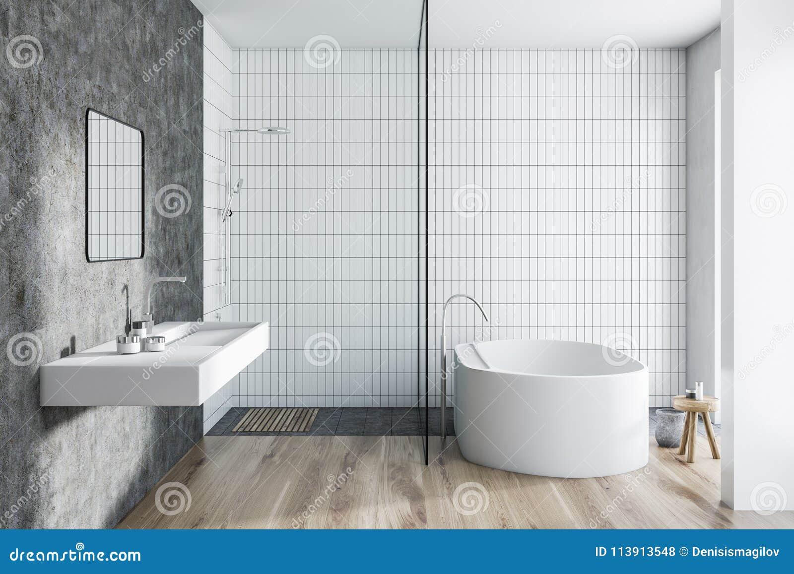 White Tile Bathroom Interior Stock Illustration - Illustration of ...