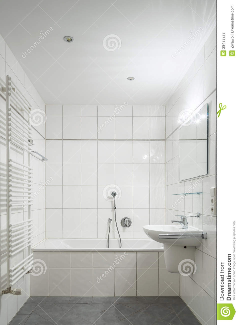 White Tiled Bathroom Royalty Free Stock Images Image