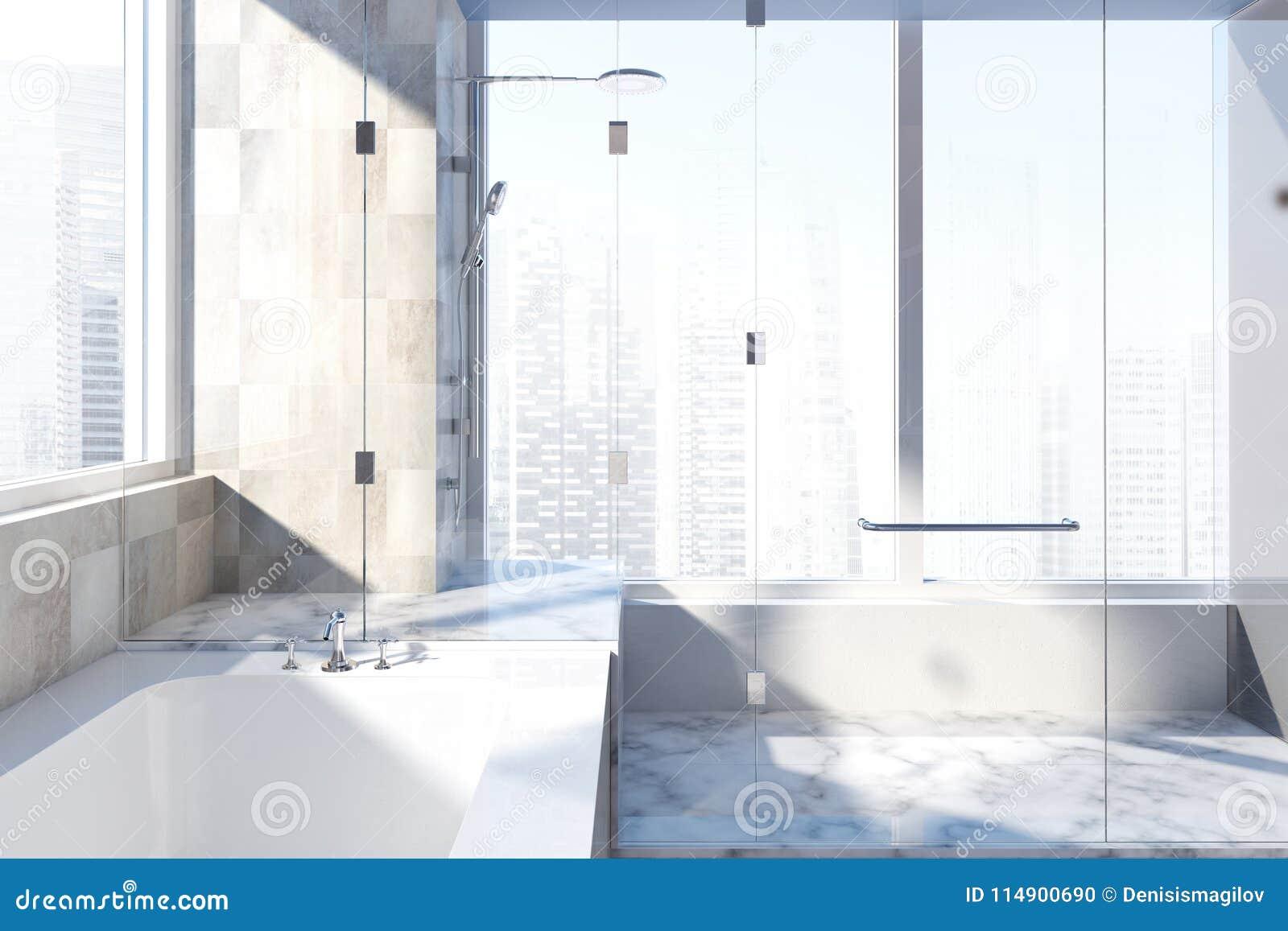 White Tiled Bathroom Interior Stock Illustration - Illustration of ...
