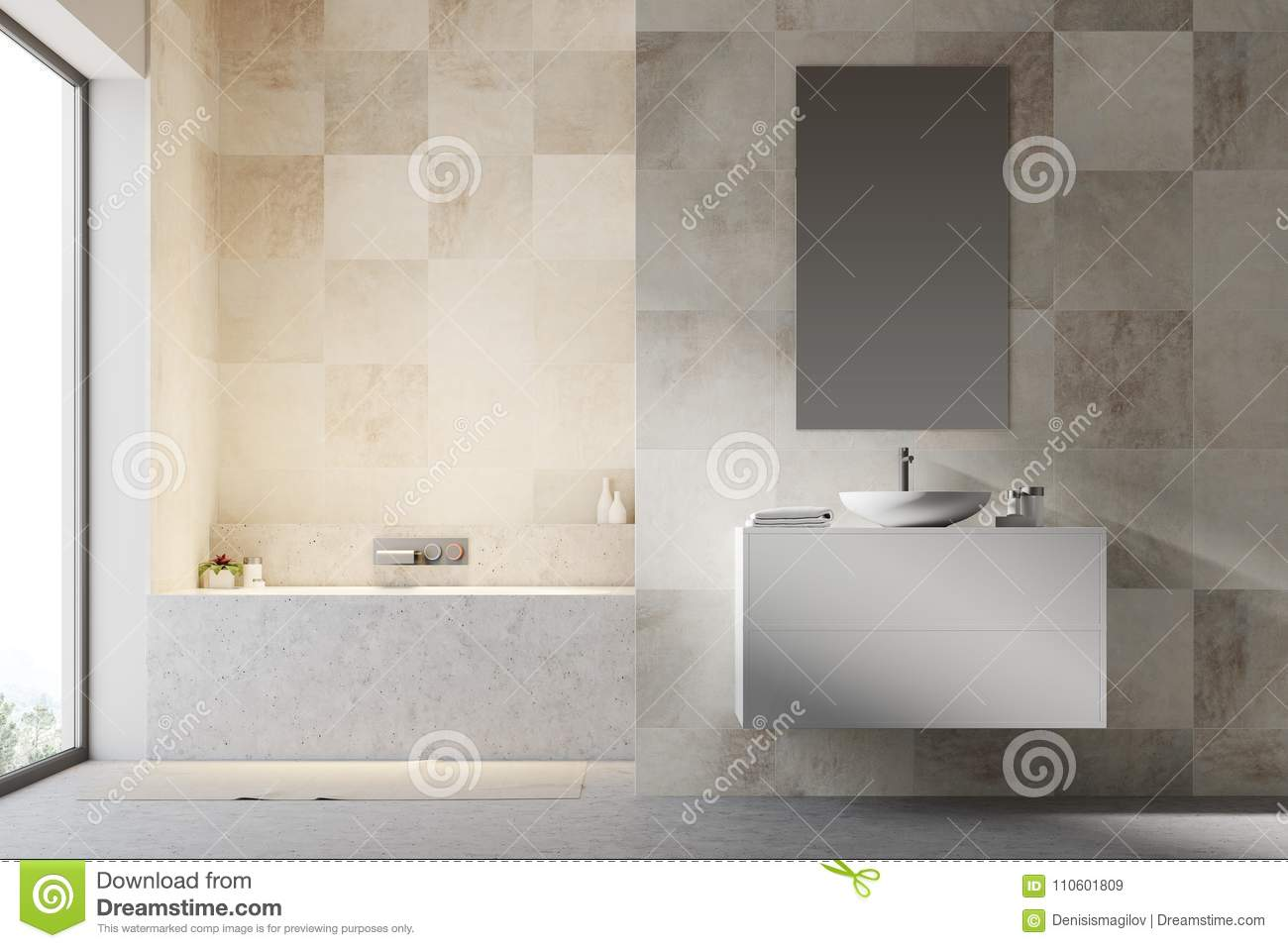 White Tiled Bathroom Interior Stock Illustration - Illustration of ...