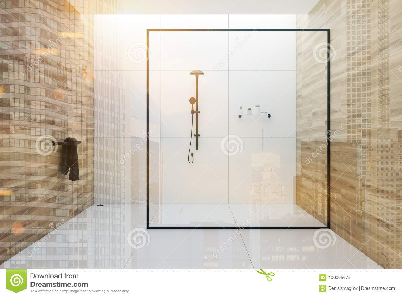 White And Wooden Bathroom Shower Double Stock Illustration ...
