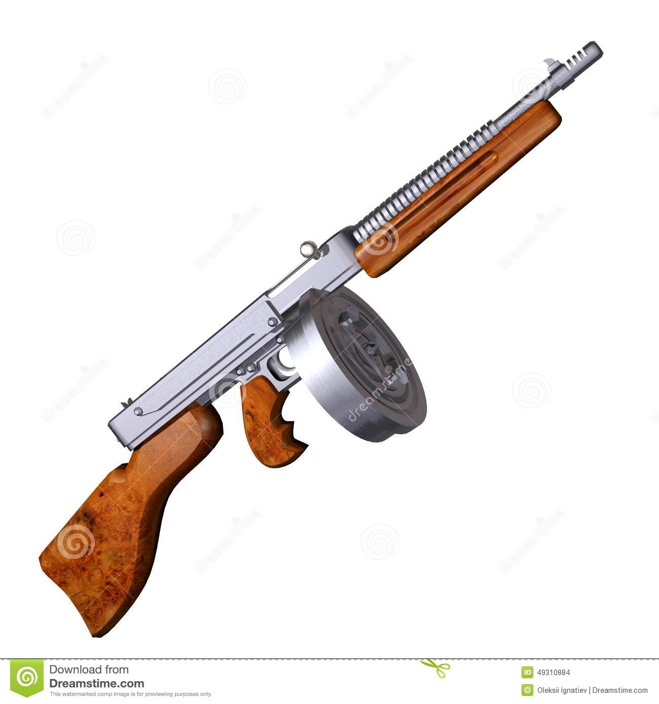 On White Tommy Gun Stock Illustration - Image: 49310884