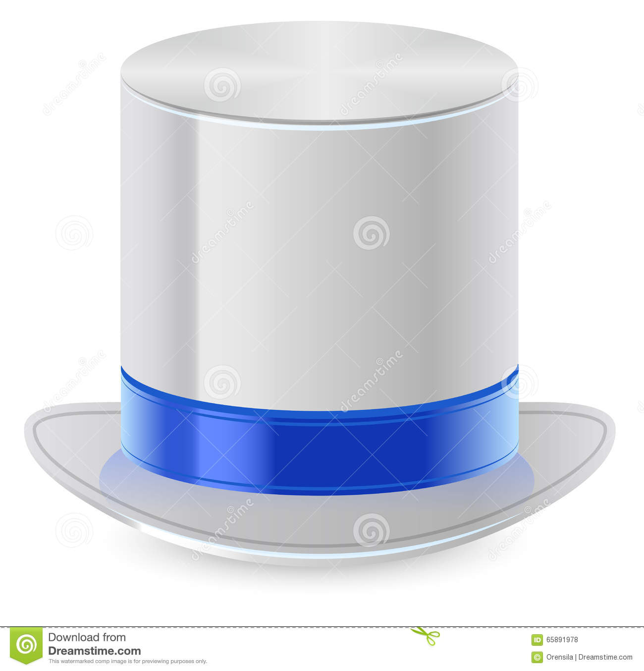White Top Hat With Blue Ribbon Stock Vector - Image: 65891978