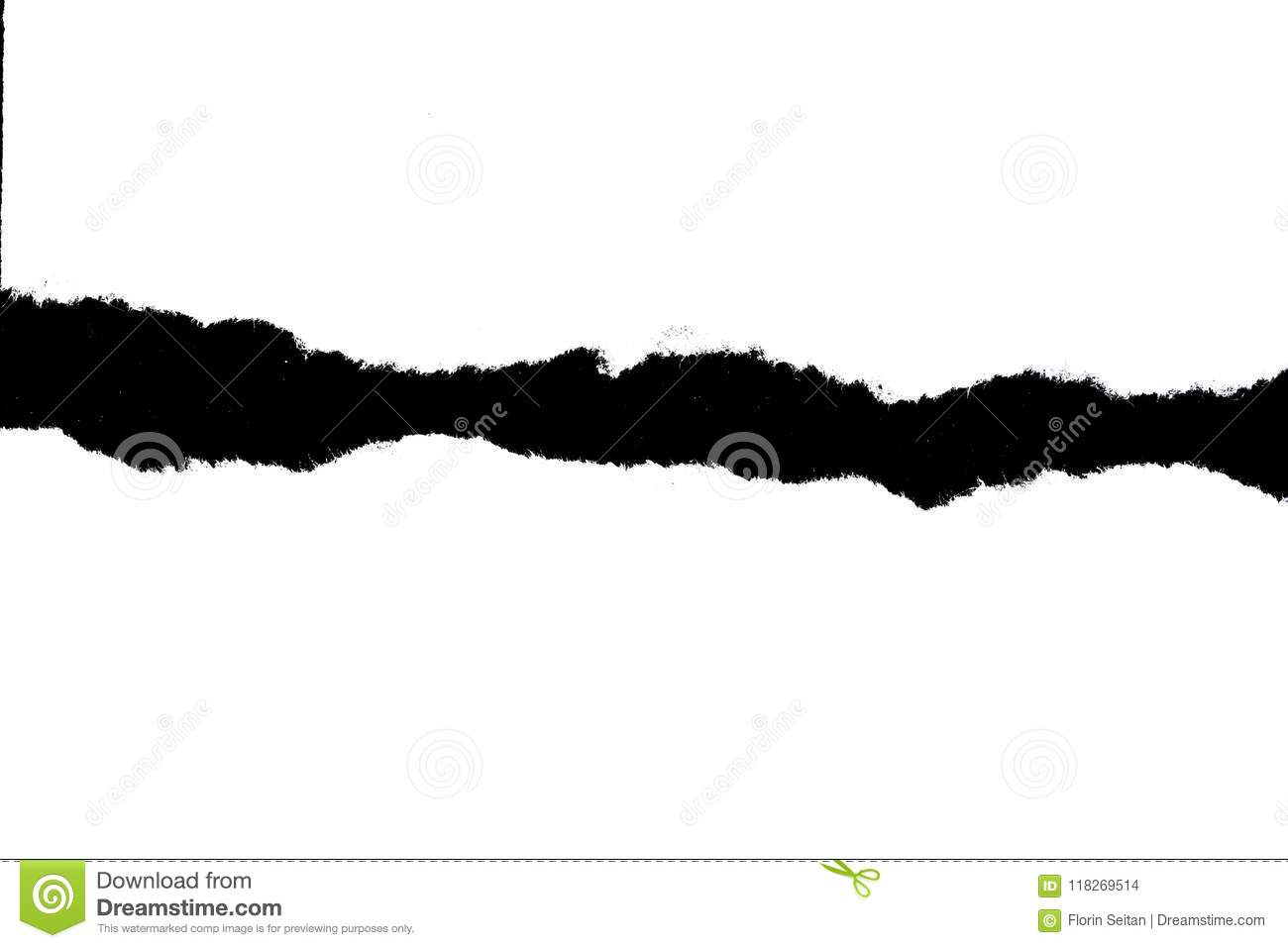White torn paper on black background with copy space