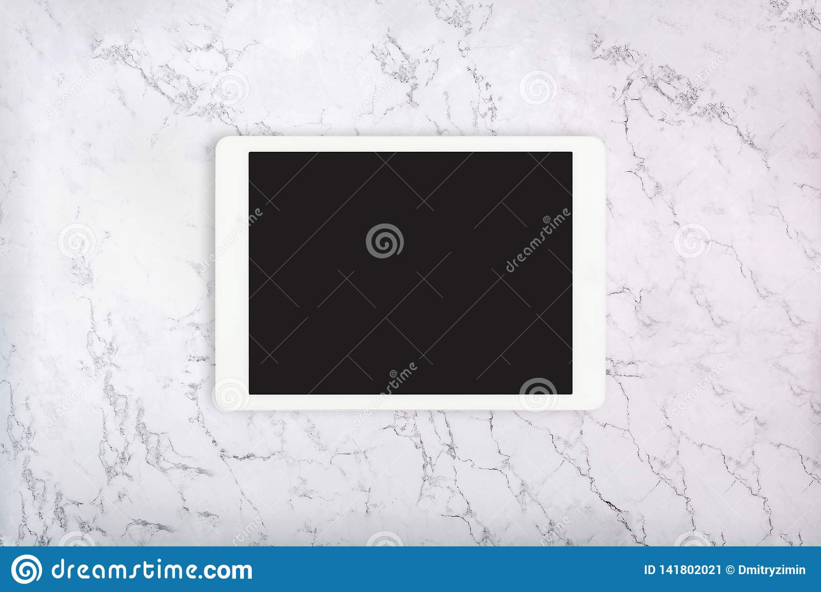 White Touchpad On White Marble Texture Tablet Computer On Marble Background Flat Lay Stock Image Image Of Screen Pattern 141802021