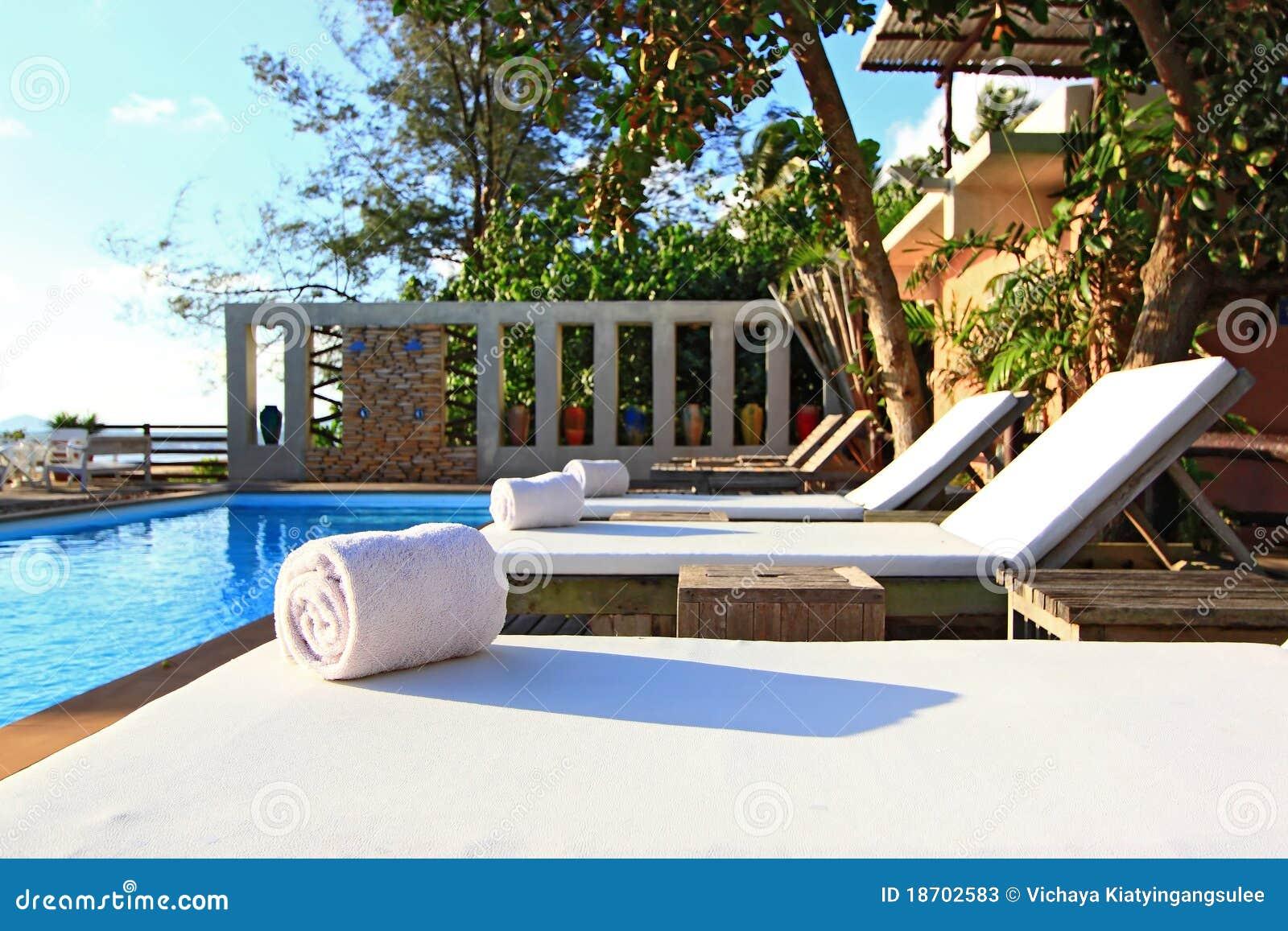 White Towel on Beach chair