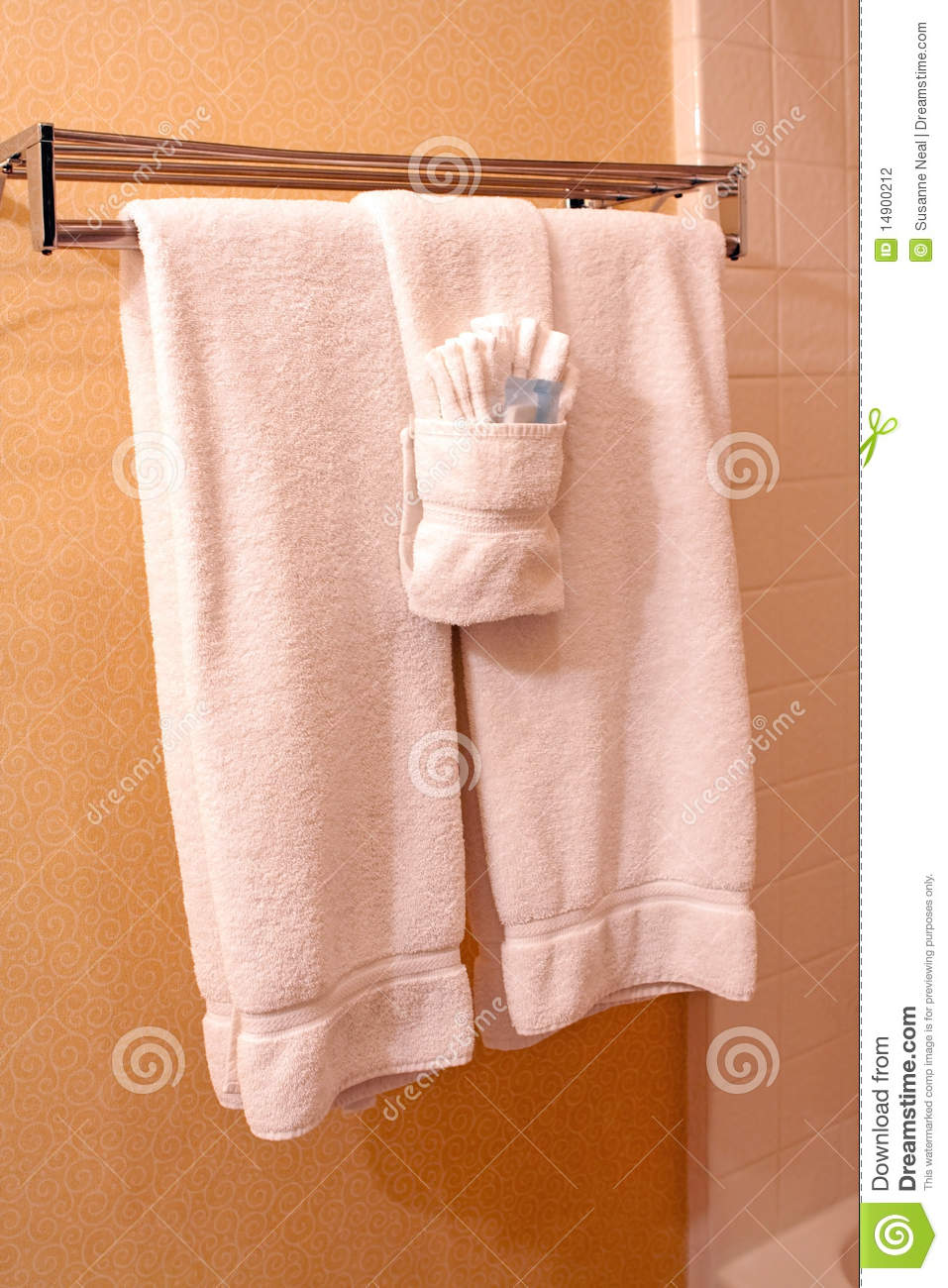 Folded hanging towel Washcloth White Towels On Towel Rack In Hotel Dreamstime White Towels On Towel Rack In Hotel Stock Photo Image Of Home