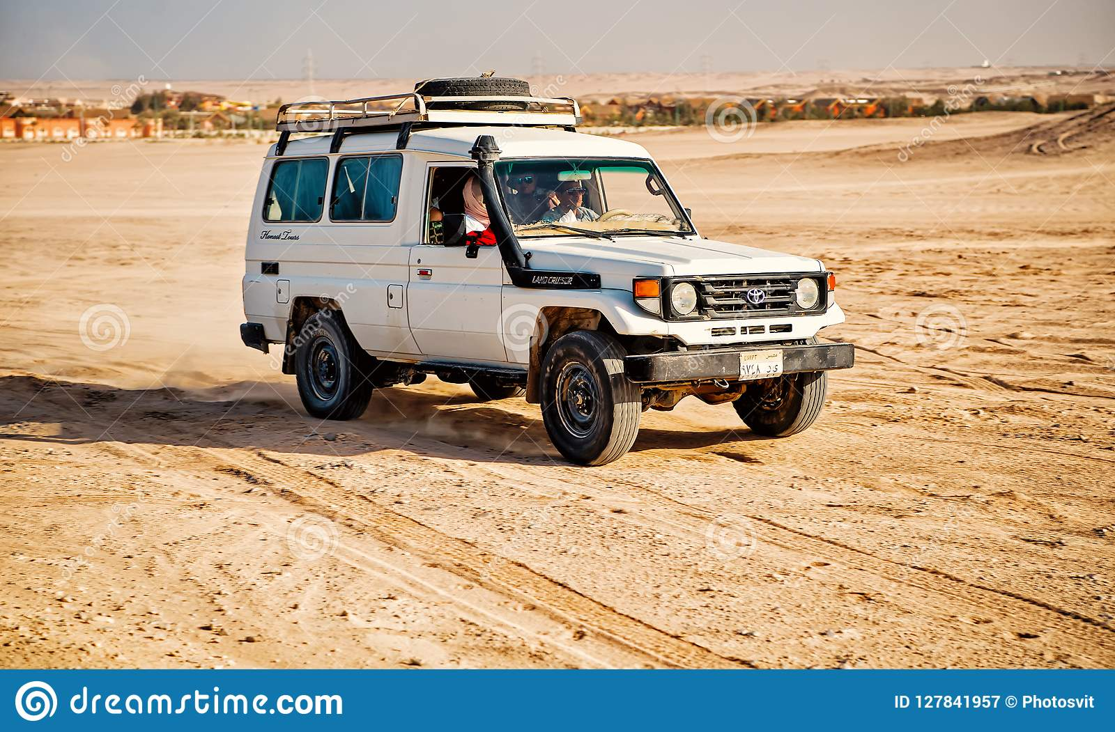 White Toyota Car Driving In Desert Of Hurghada Egypt Editorial Photography Image Of Driving Environment 127841957