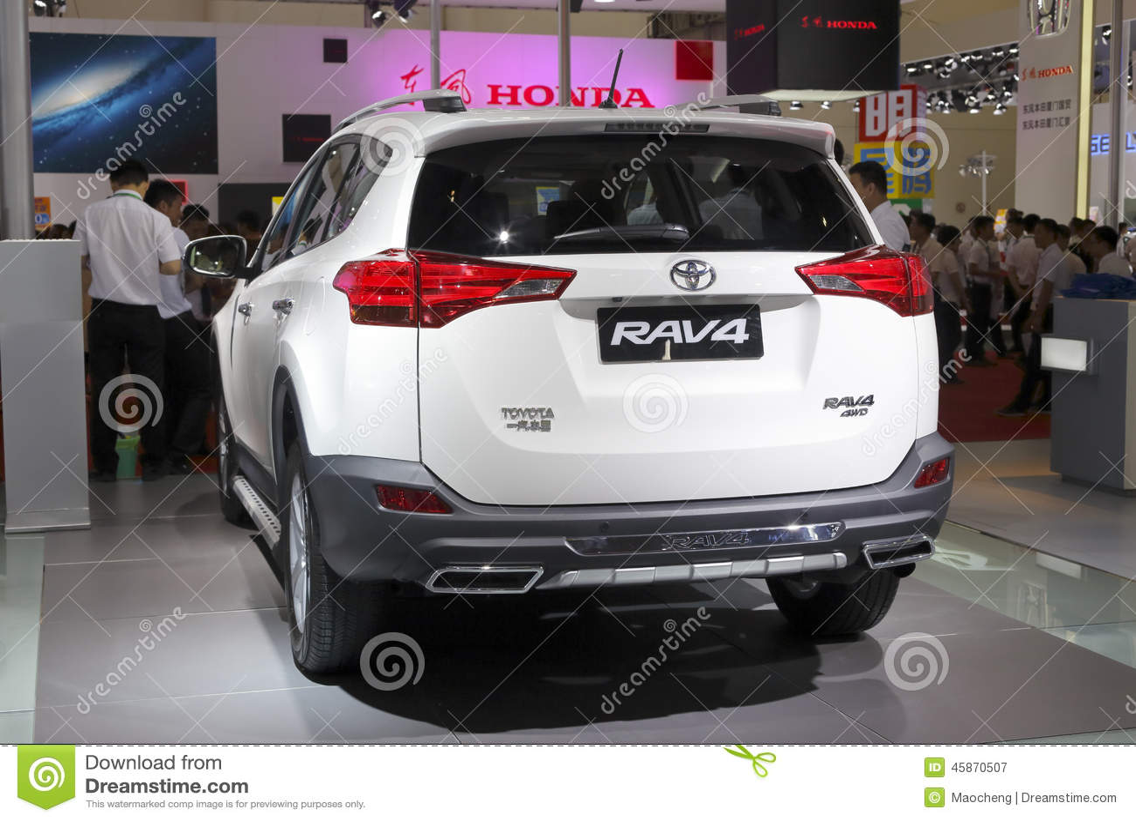White Toyota Rav4 Suv Car Rear View Editorial Photography