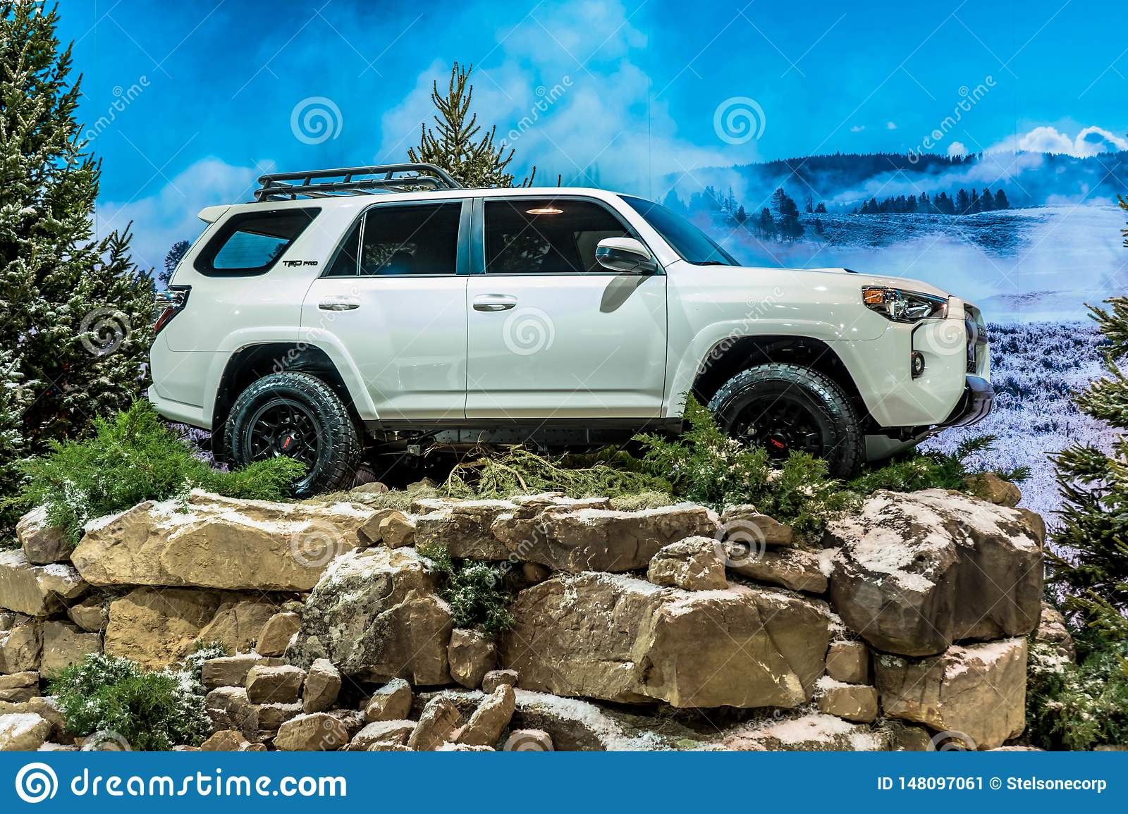 White 2019 Toyota 4runner Trd Pro Exposed On Winter Instalation Taken On Chicago Autoshow 02 17 2019 Editorial Photo Image Of Mountain Truck 148097061