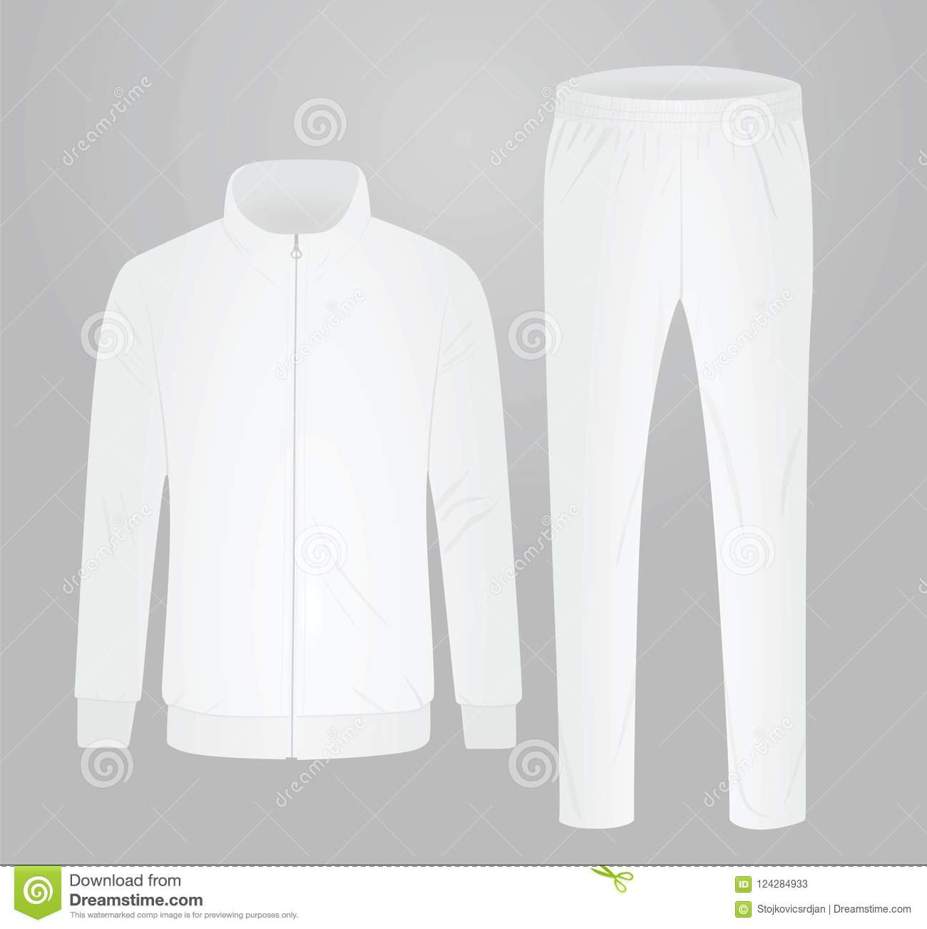 81b06574a9c7 White tracksuit set stock vector. Illustration of apparel - 124284933