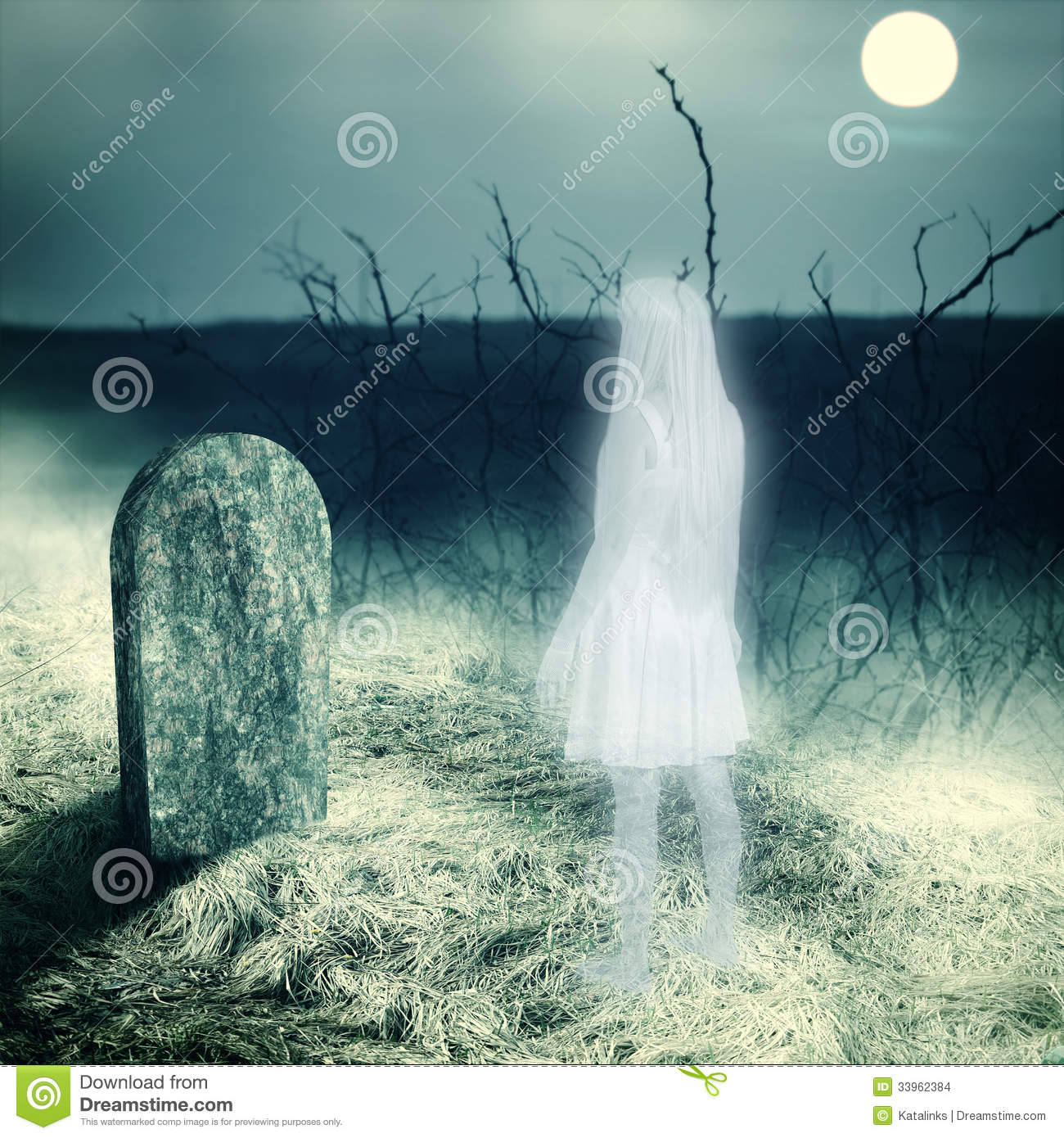 ... look on her grave gravestone on old cemetery. Midnight with full moon