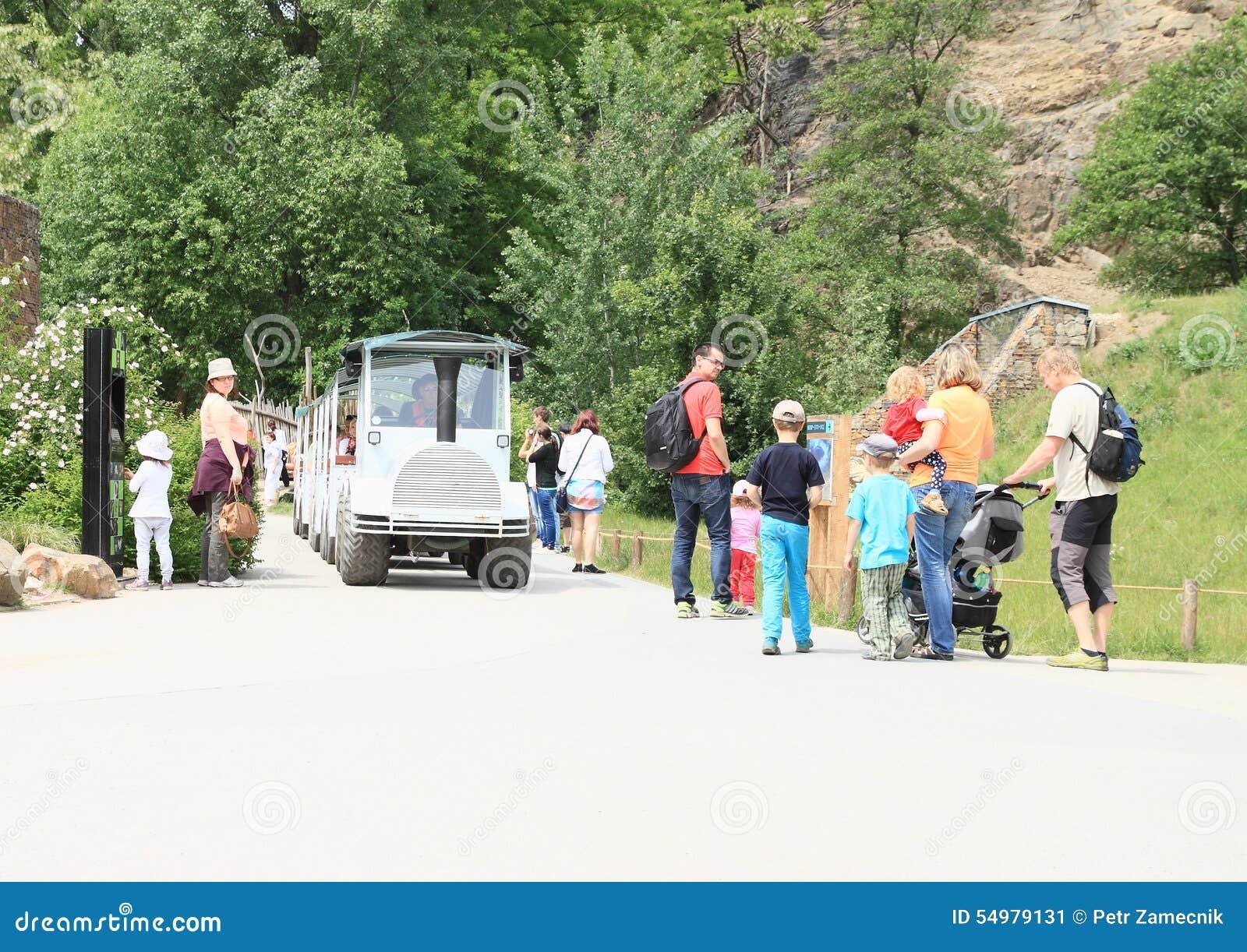 white transportation train in prague zoo editorial photo