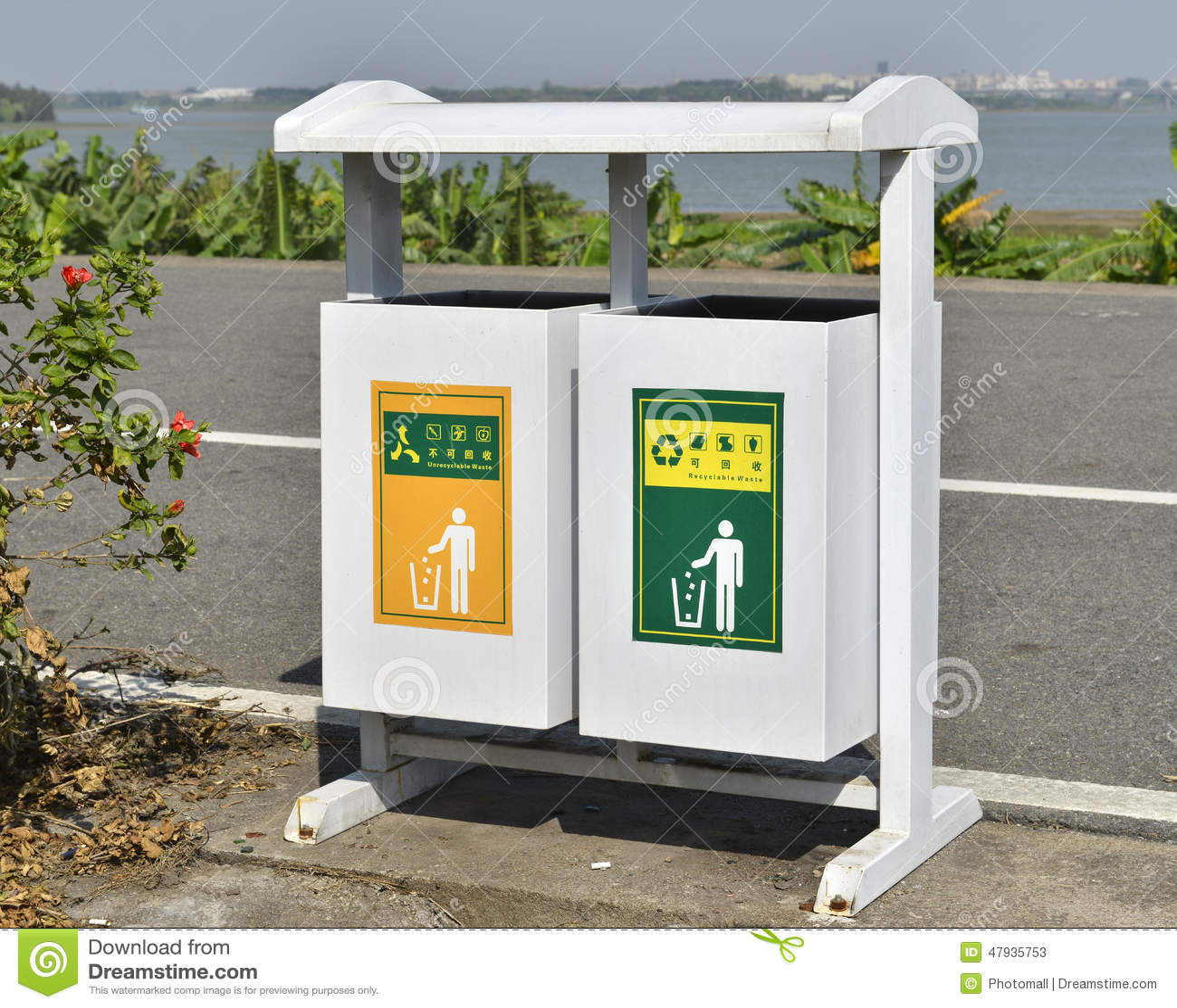 White Trash Can On Roadside Dustbin Garbage Bin Garbage
