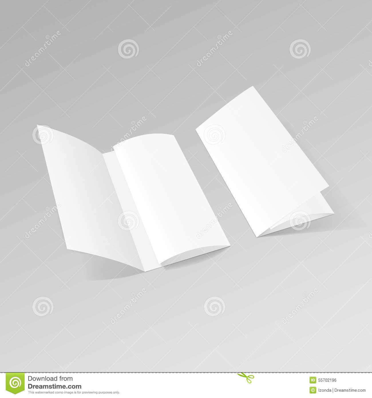 white trifold brochure leaflet zigzag folded flyer stock vector